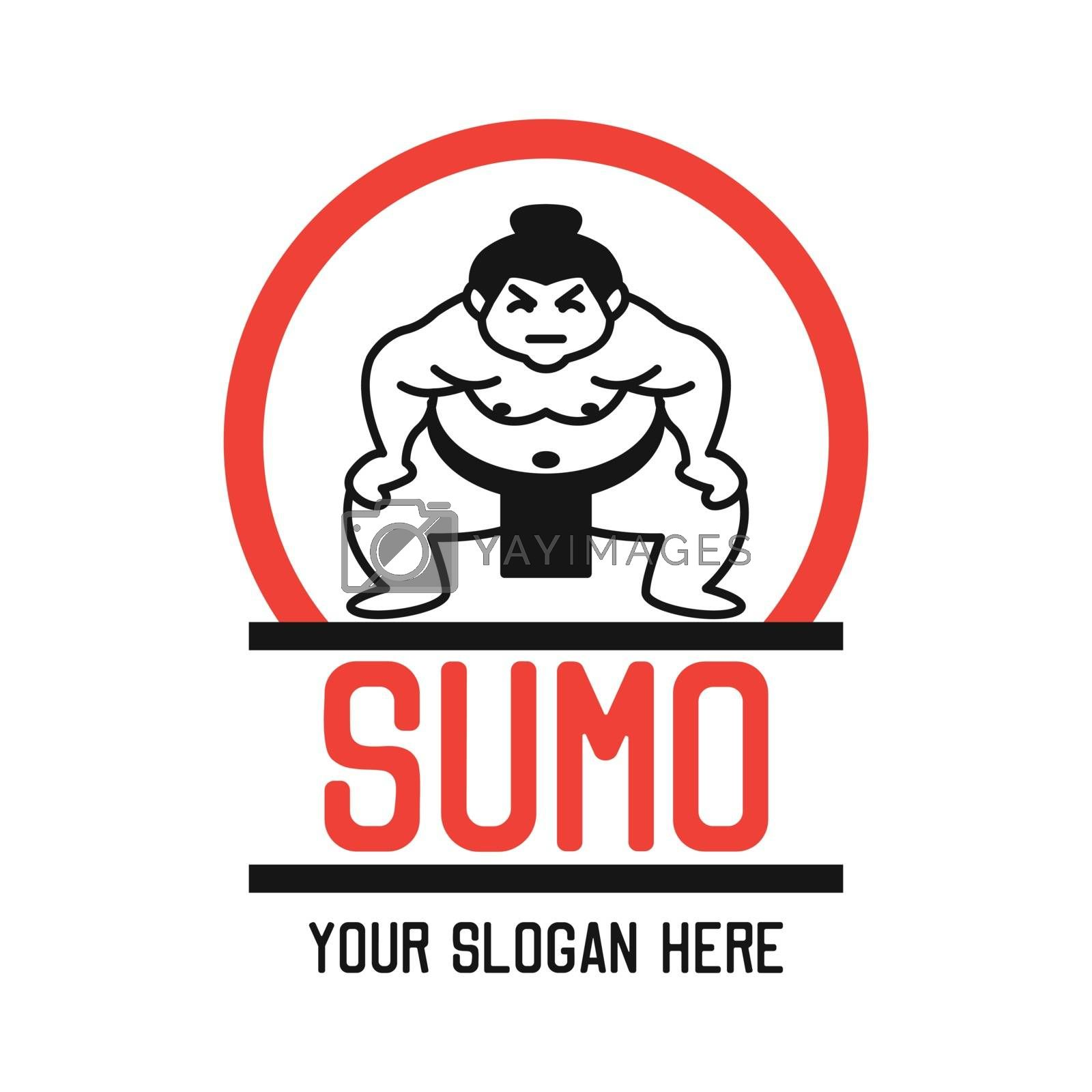 sumo icon with text space for your slogan / tag line, vector illustration