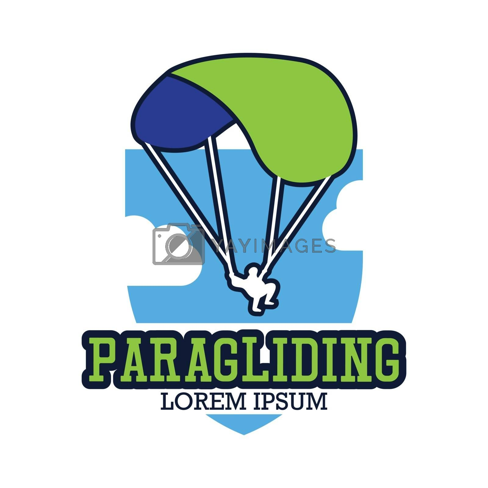 paragliding icon with text space for your slogan / tag line, vector illustration