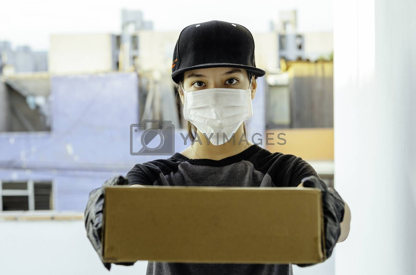 Home delivery food during virus outbreak, coronavirus panic and pandemics. Stay safe