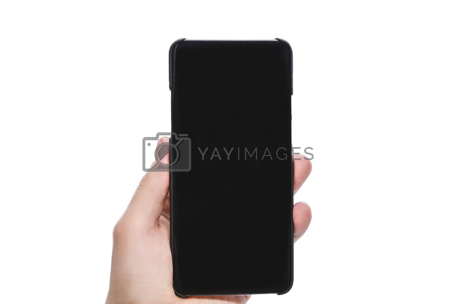 Hand holding mobile smart phone with blank screen, isolated on white background. Copy space for advertisement of mobile app