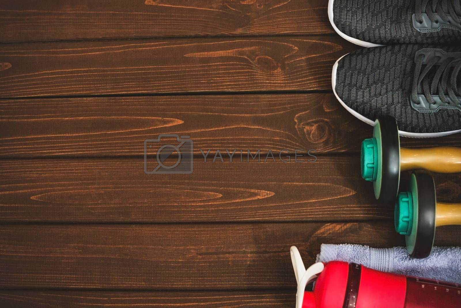New life, sports paraphernalia on a wooden background, flat concept position. by Nickstock