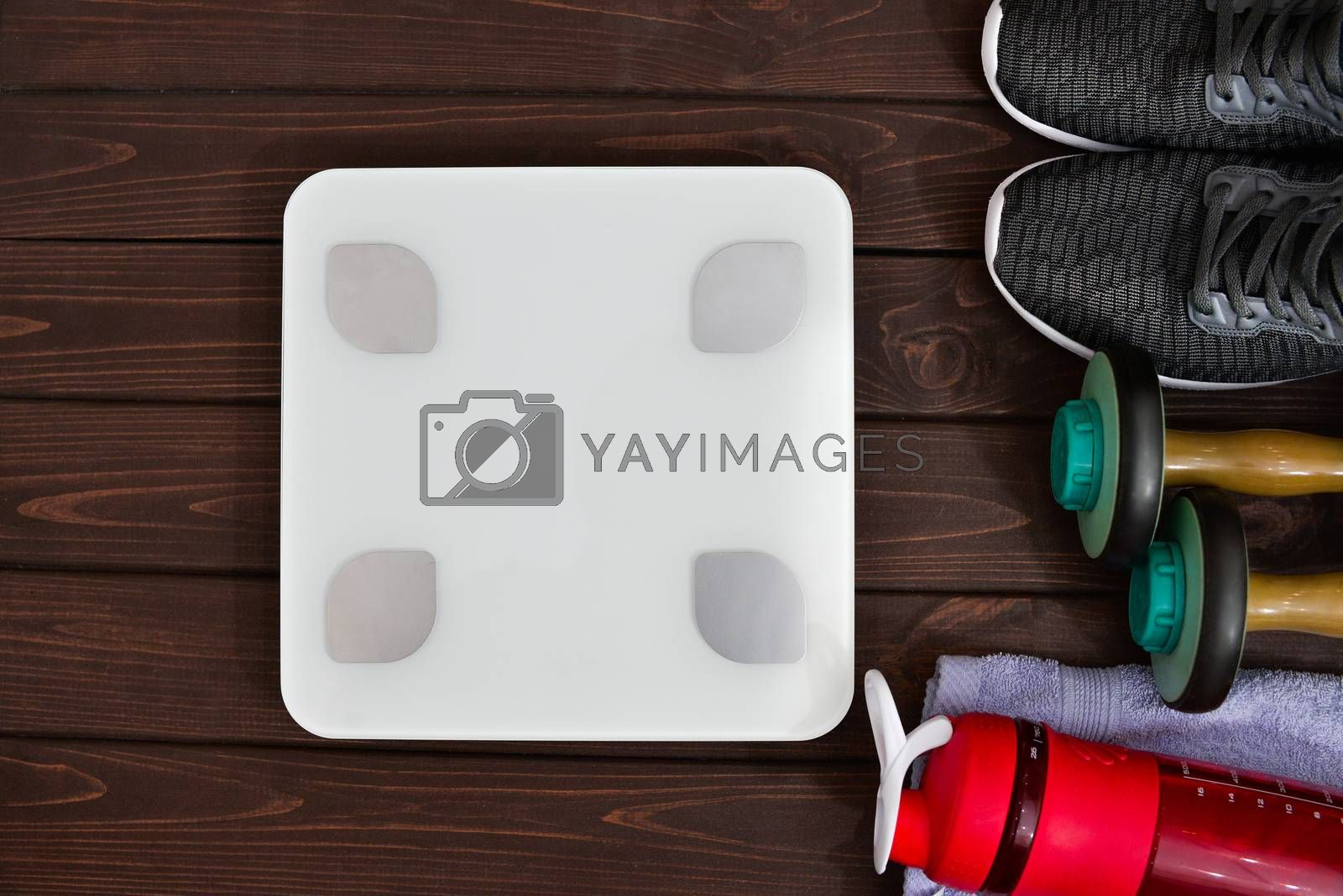 New life, sports paraphernalia on a wooden background, flat concept position.