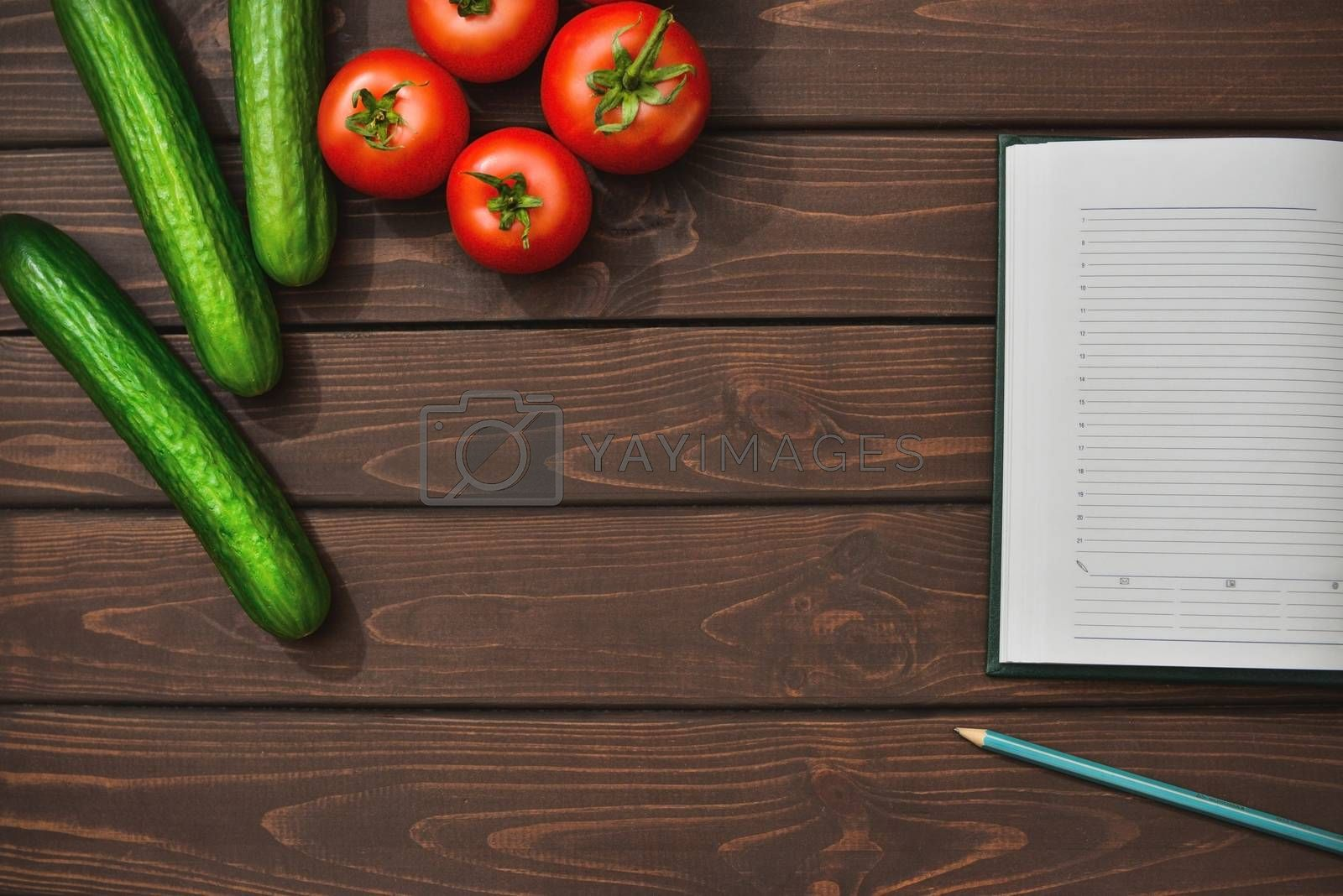 Spring Food Diet on a wooden background. Top view