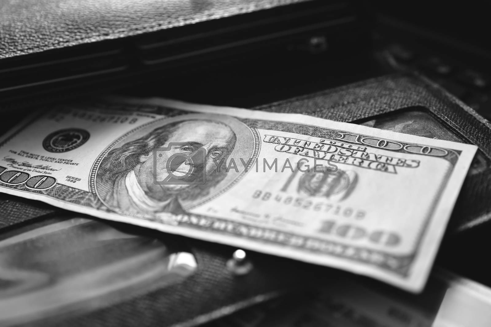 Money wallet dollar, black and white by Nickstock