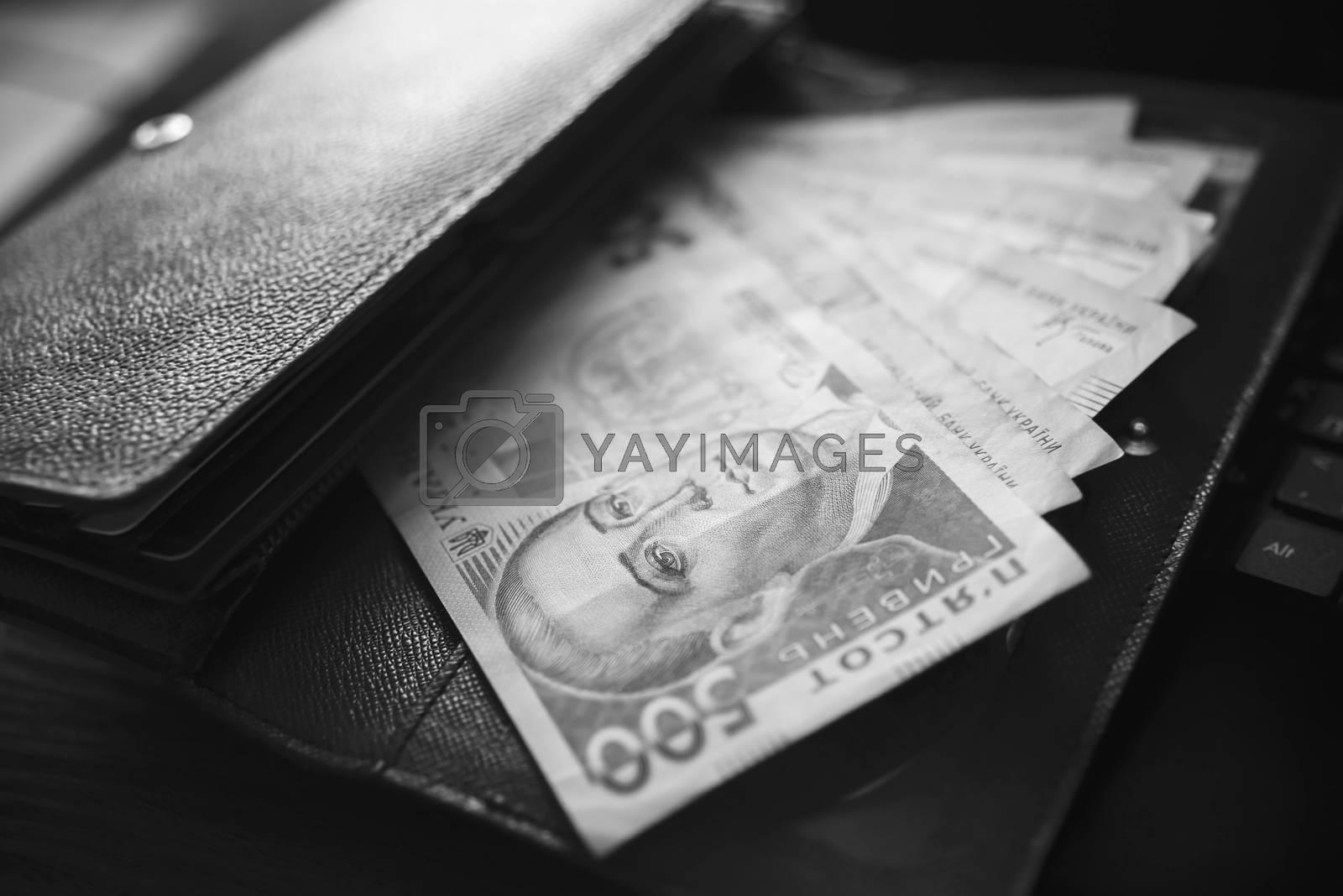 Money, UAH, hryvna, black and White by Nickstock