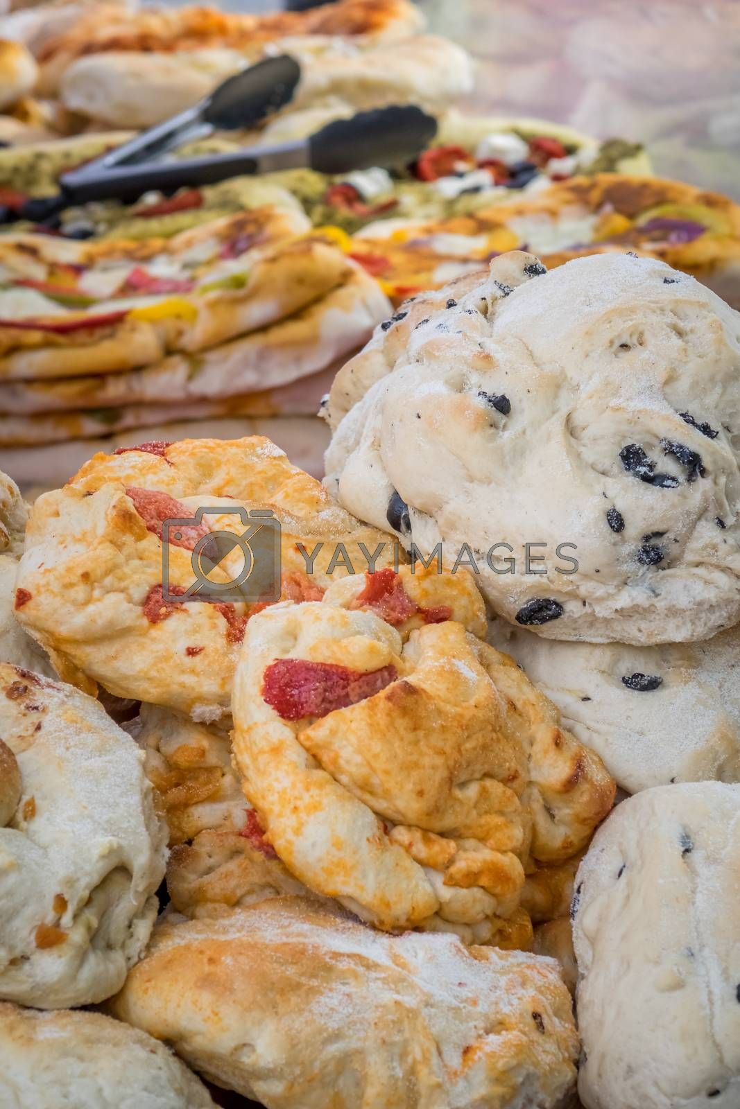 Original bakery products made by local bakeries on sale on a farmers market in Bristol, UK