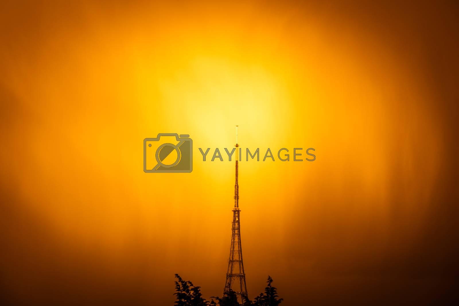 The high Crystal Palace transmitting station at sunrise, Bromley, London, UK