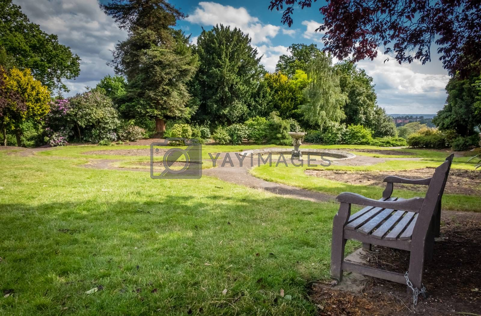 Empty bench In a park in spring, England