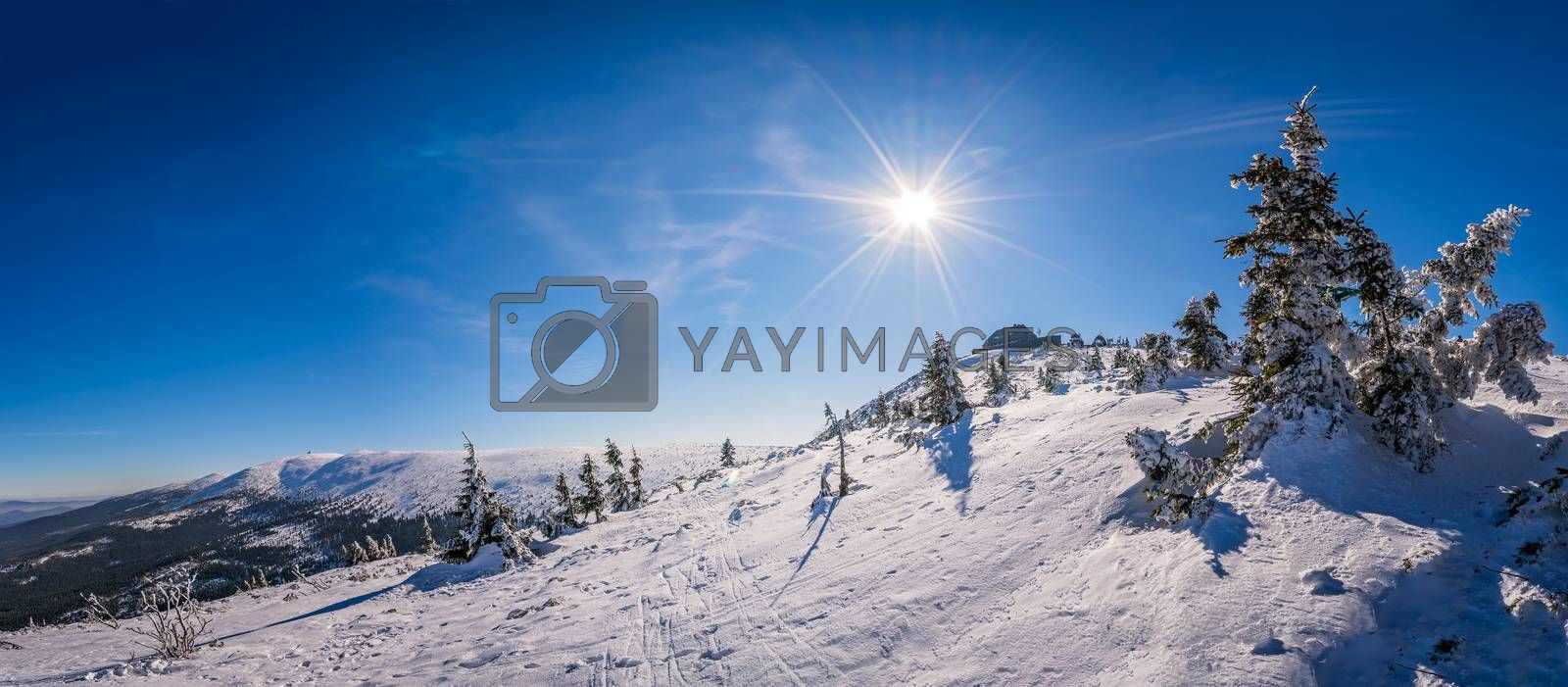 Panoramic view of a Karkonosze mountains as seen from the Szrenica mountain, Poland