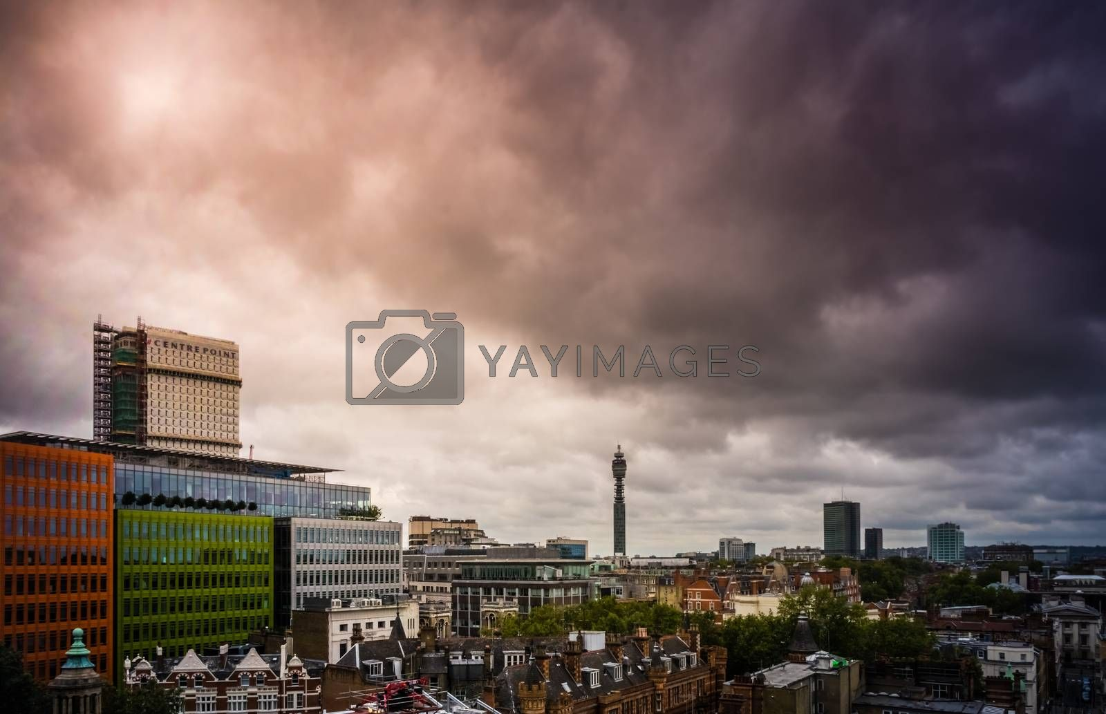 Aerial view of the central area in London with BT tower in the background
