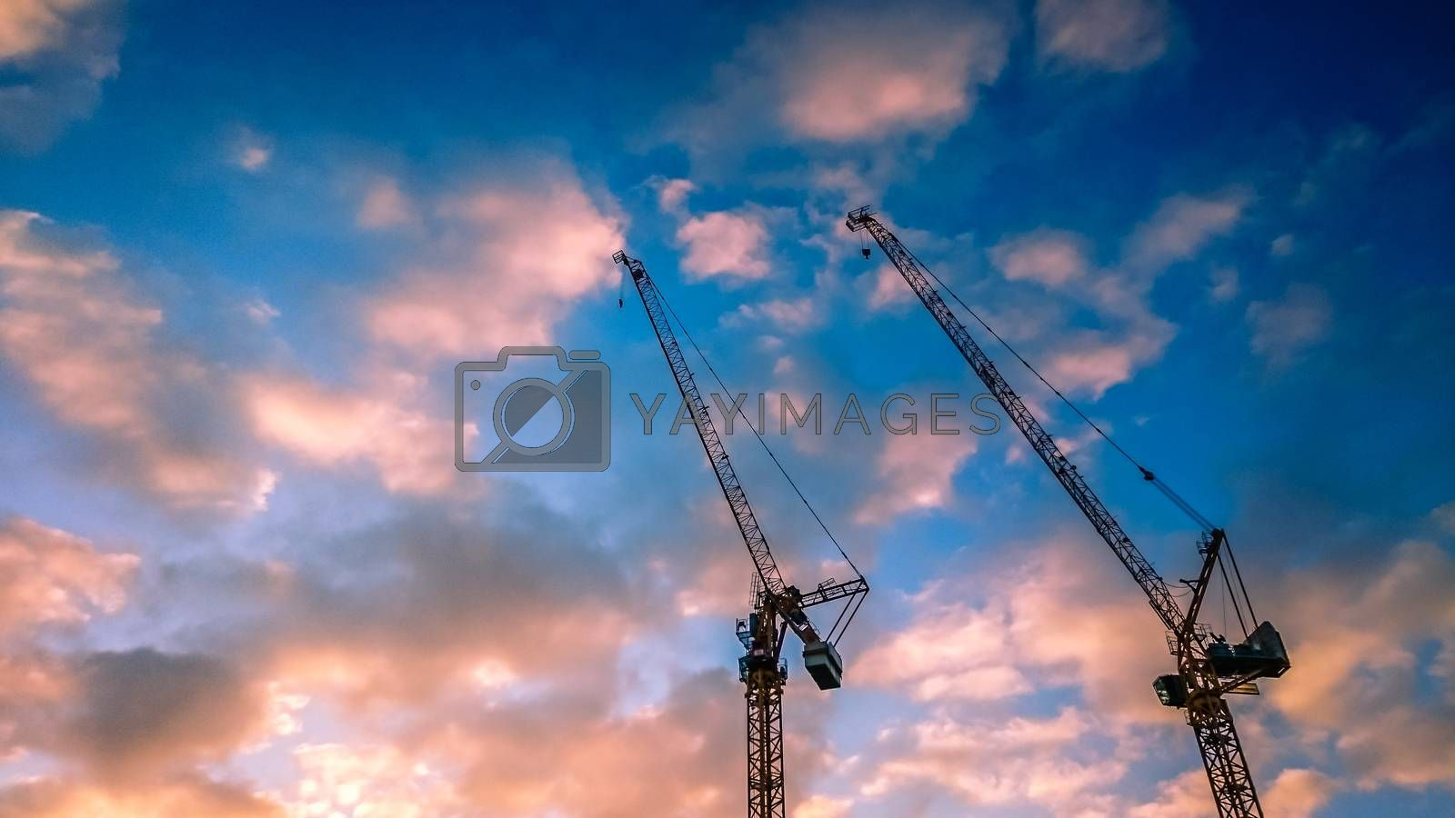 Two cranes working on one of many central London building sites