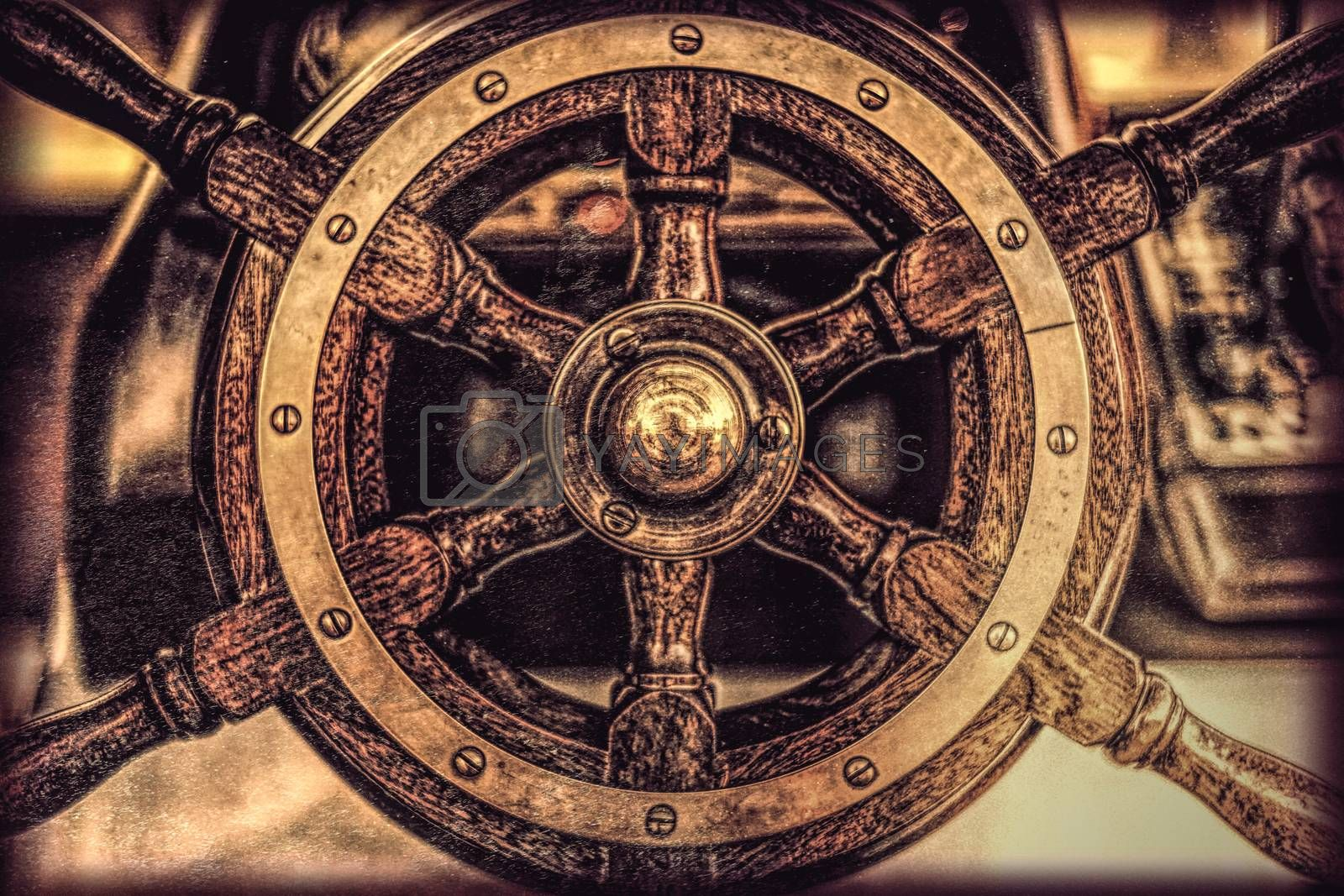 Wooden steering wheel of an old ship