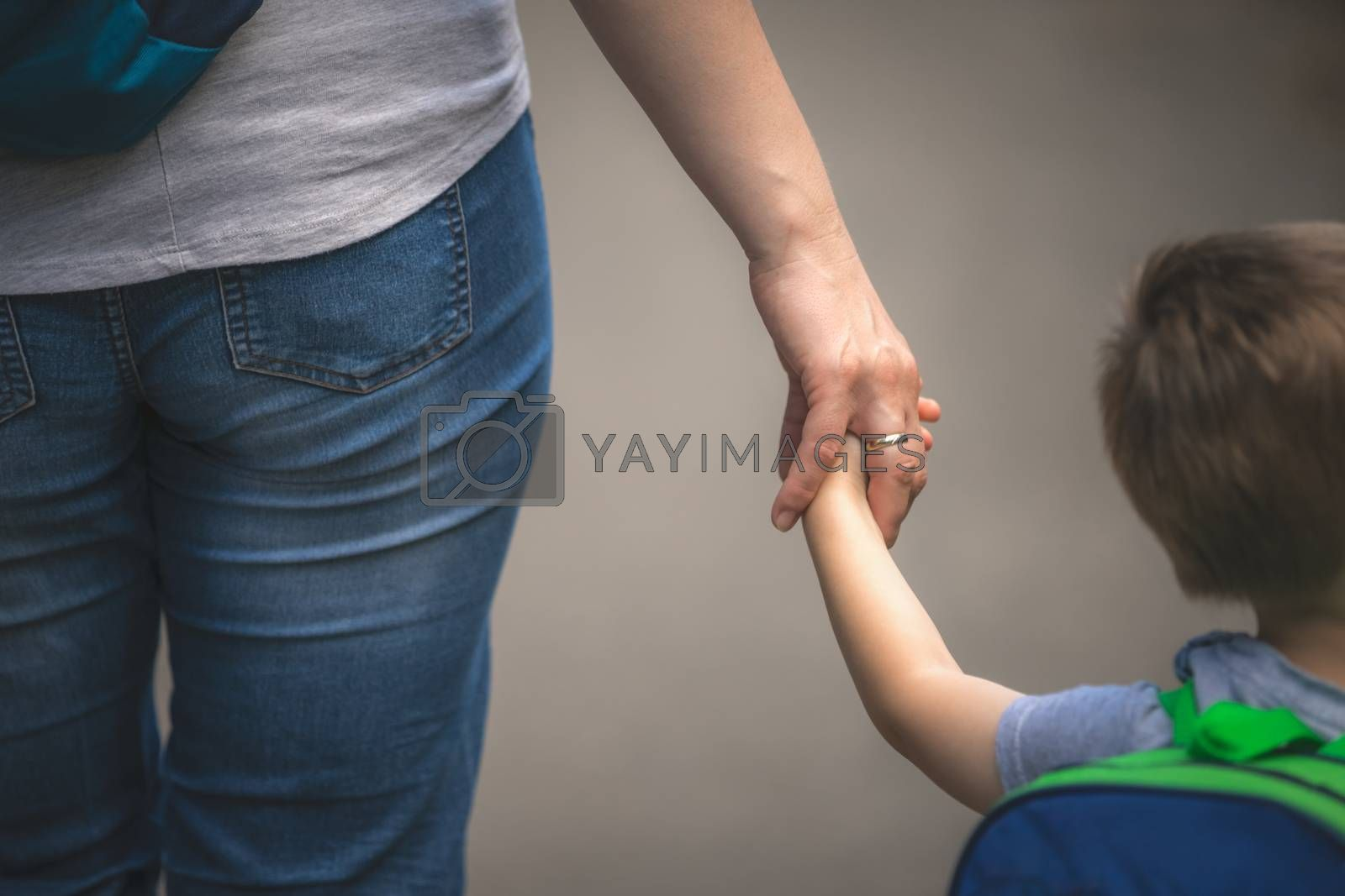 Little caucasian boy holding hand and walking together with his mother