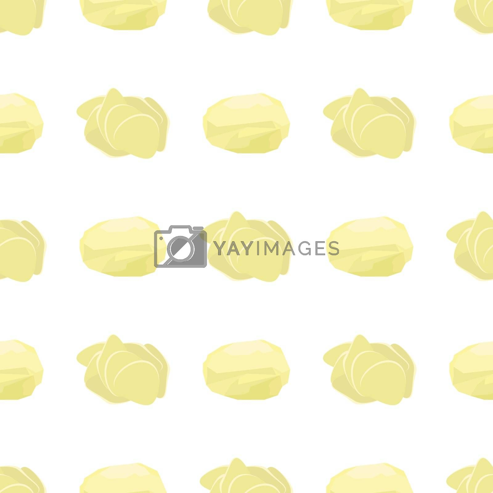 Potato Seamless Pattern on White Background. Whole, Slices, Half, Circle Potatoes. Tasty Vegetable. Fast Food Snack. Organic Food.