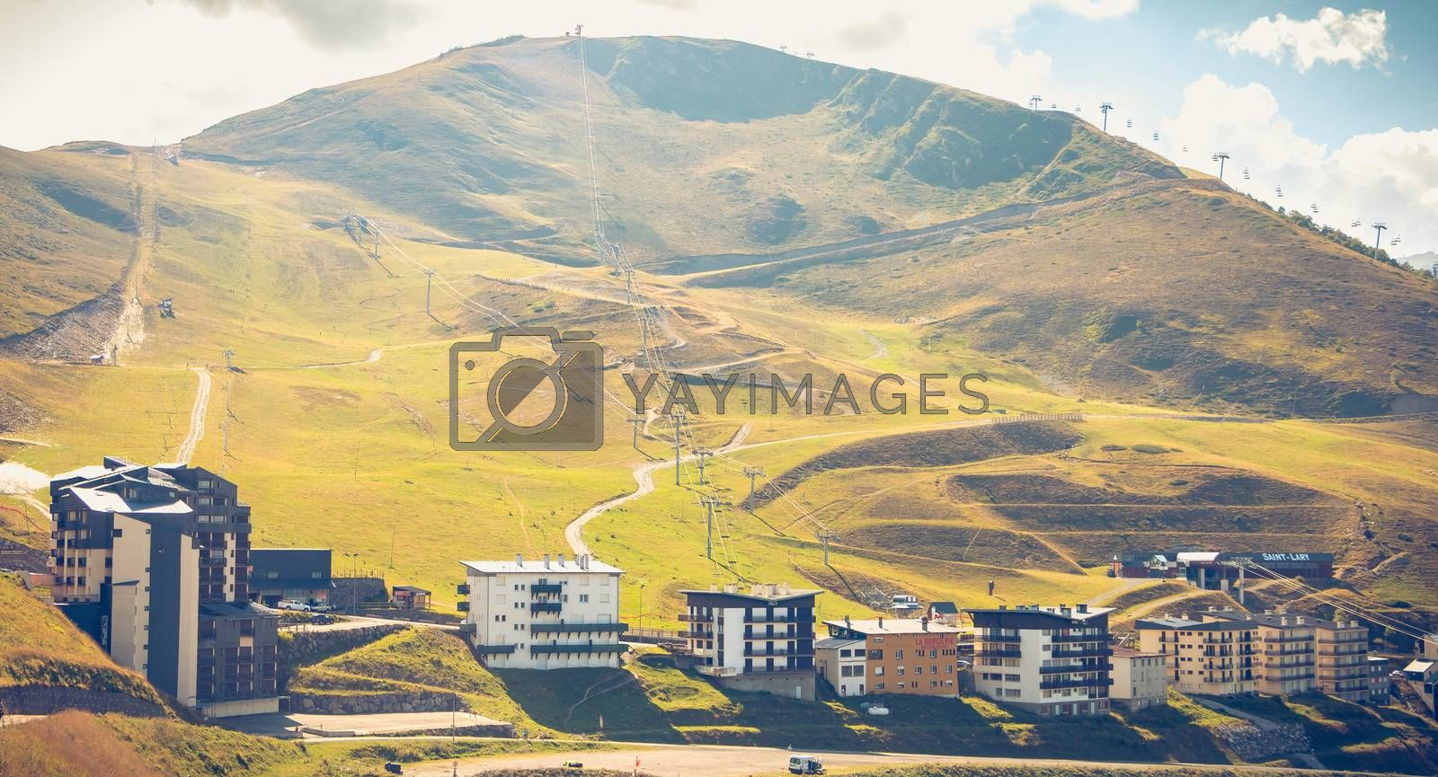 Saint Lary, France - August 20, 2018: Overview of the buildings of the Pla D Adet ski resort on a summer day