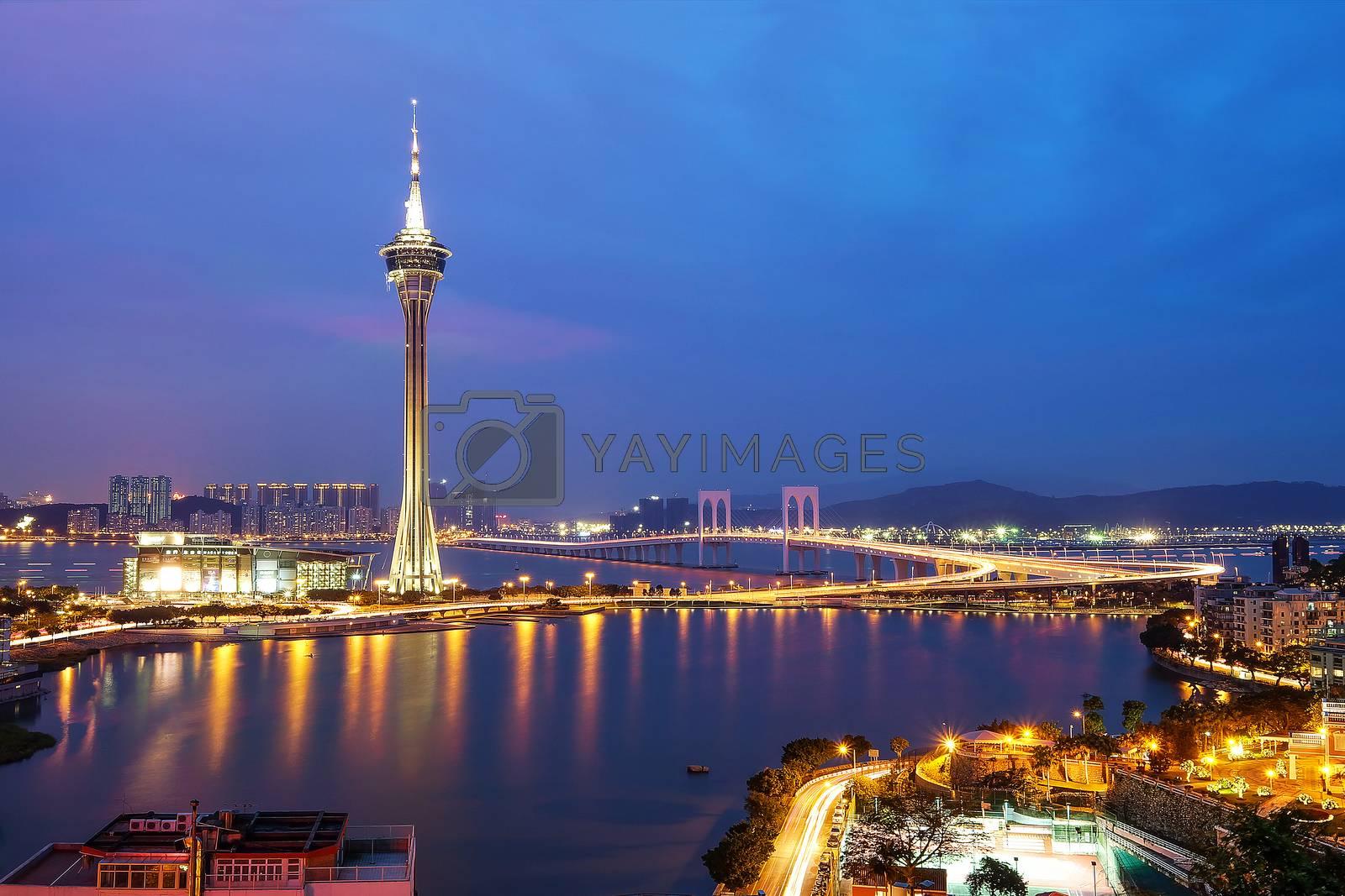 Night view of Macau Tower in Twilight Time
