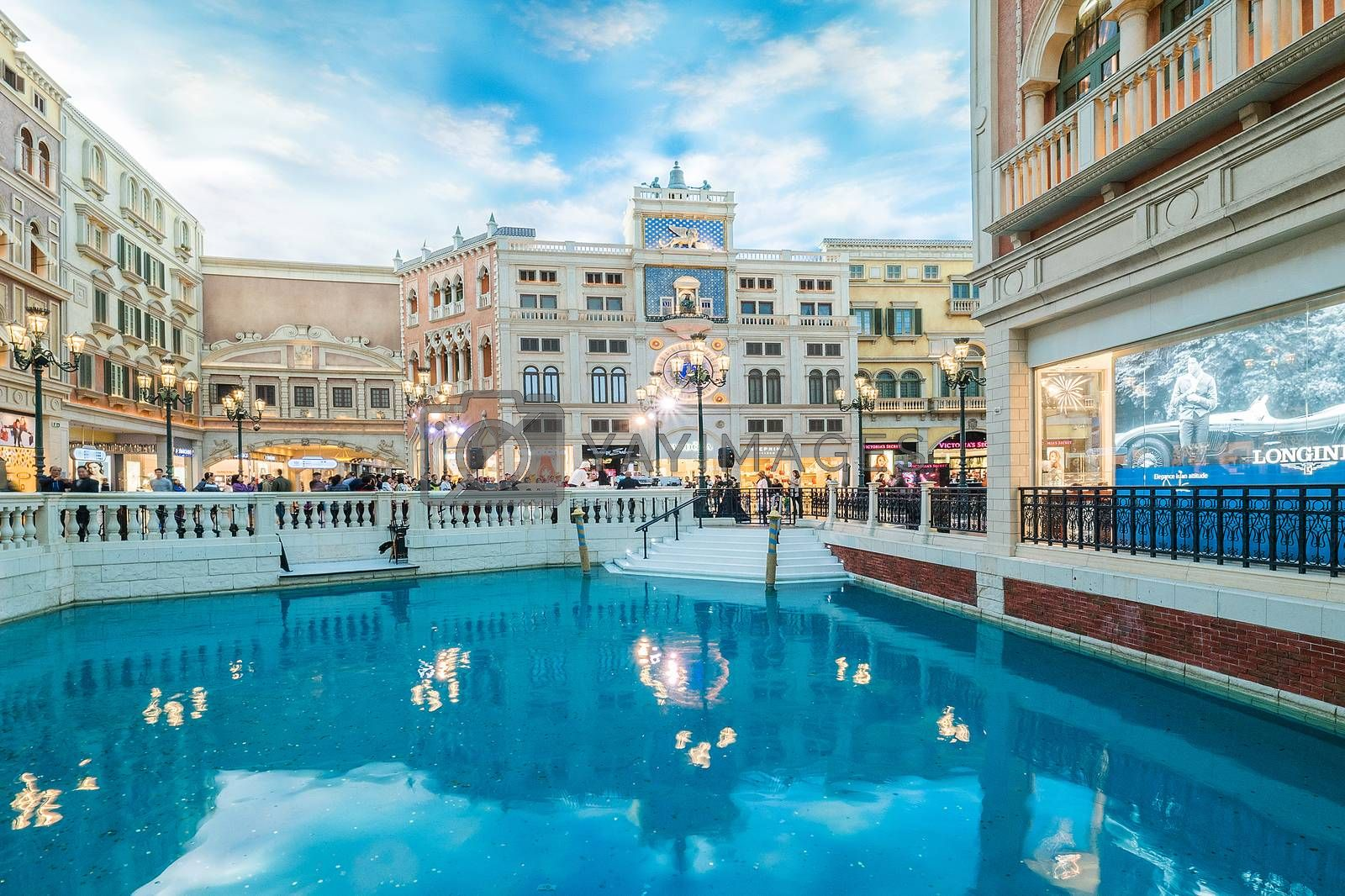 MACAU CHINA-JANUARY 11 visitor on gondola boat in Venetian Hotel The famous shopping mall luxury hotel landmark and the largest casino in the world on January 11,2016 in Macau China