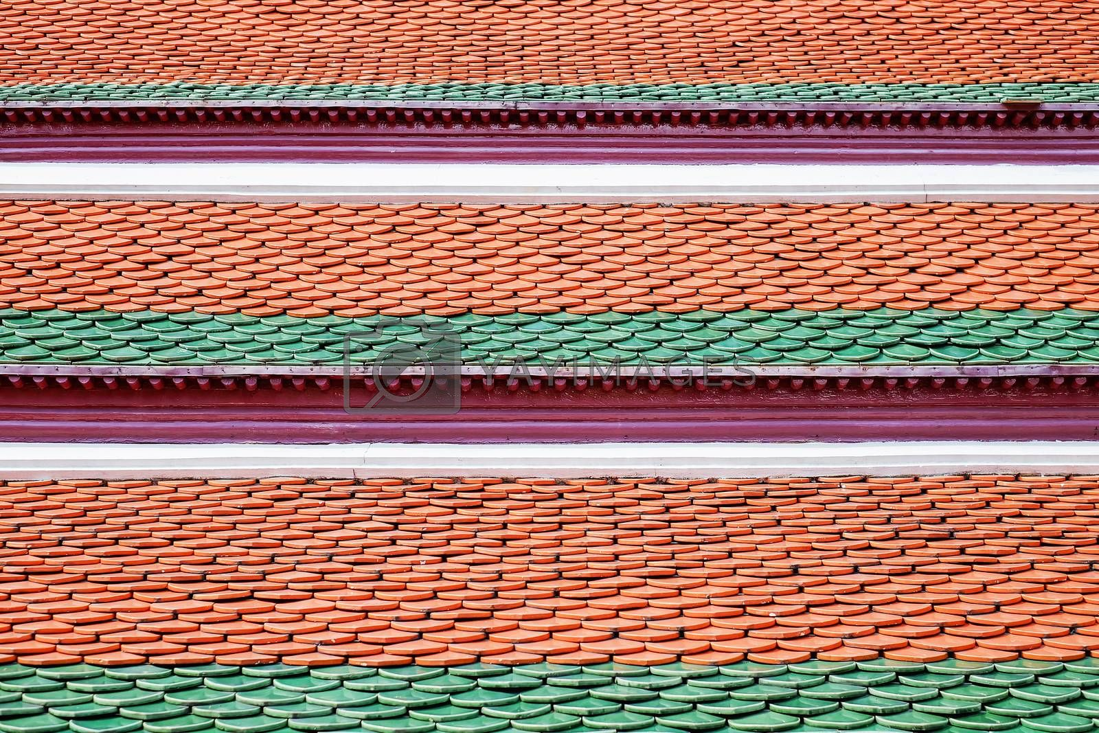 Rooftile pattern yellow green and red
