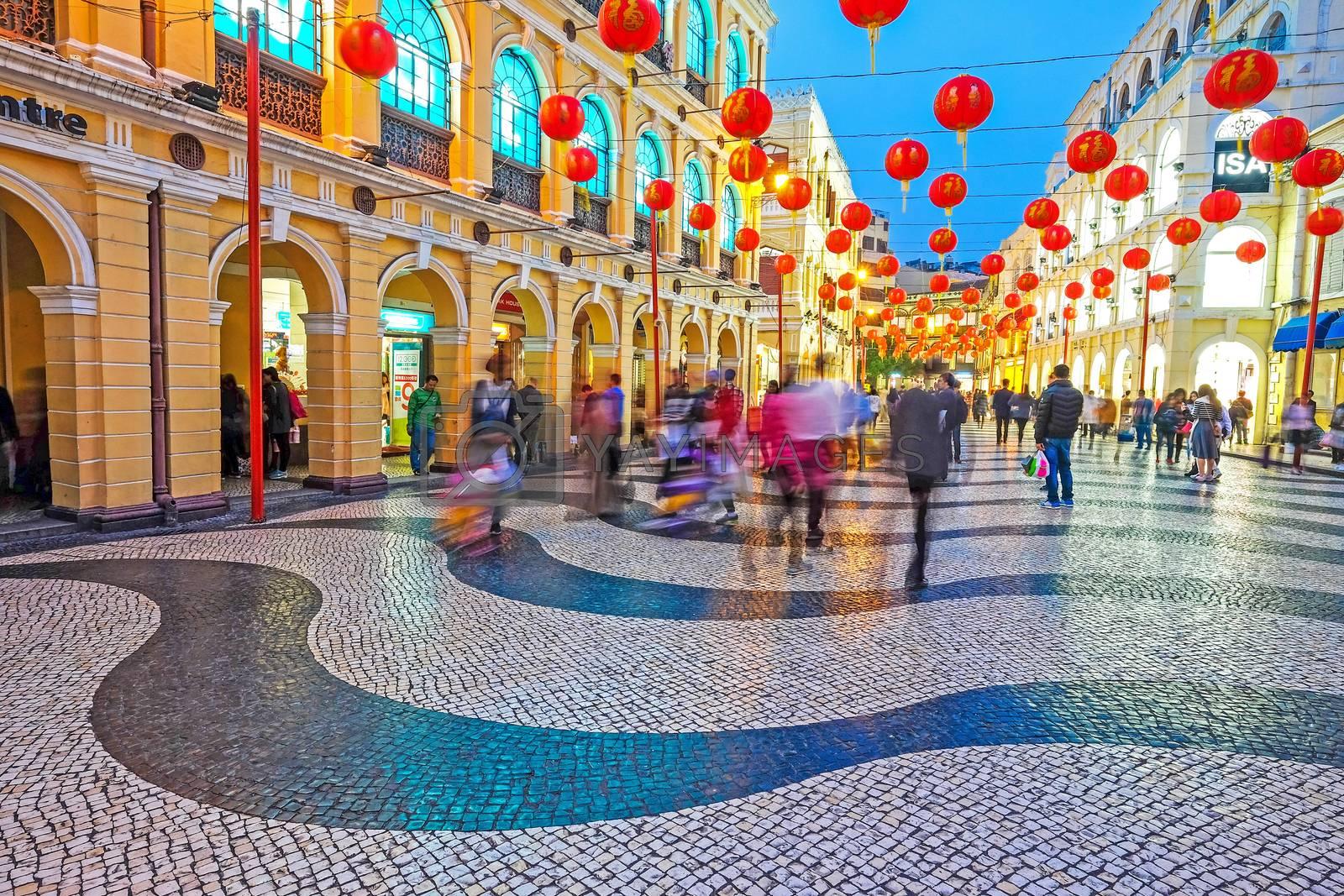 MACAU, MACAU - JANUARY 11,2016 - Senado Square nigth view of Macau. This square is the largest in Macau. Macau is a former Portuguese colony.