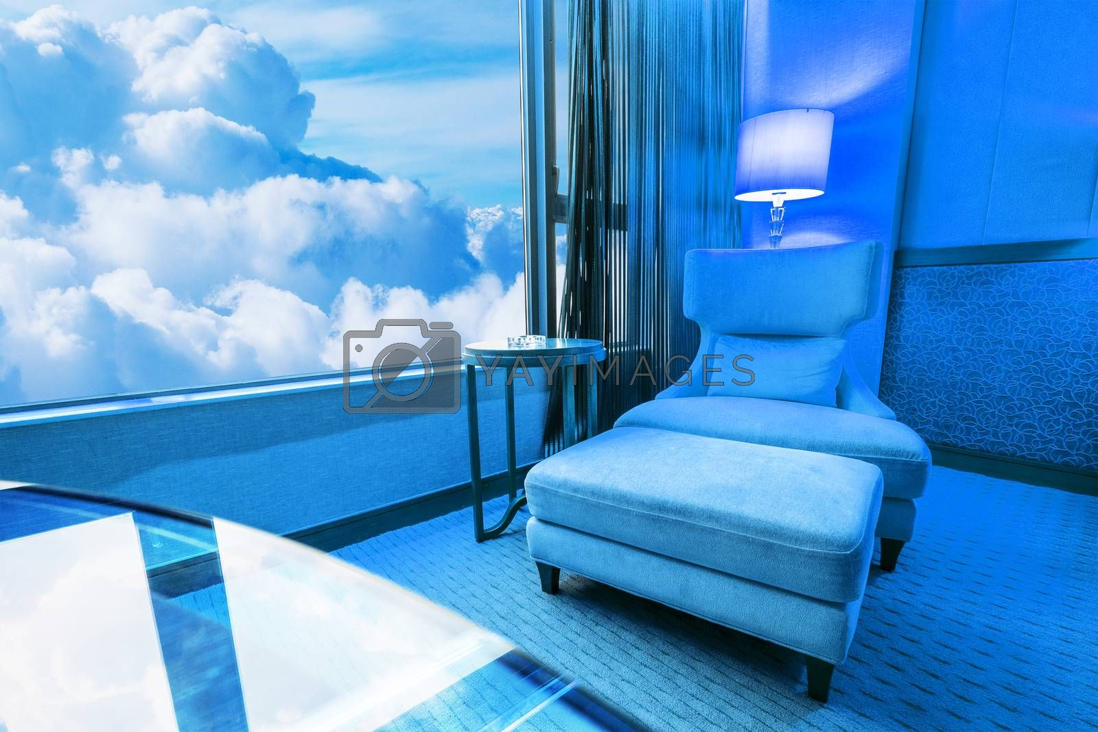 Blue room Sofa in living room and blue sky