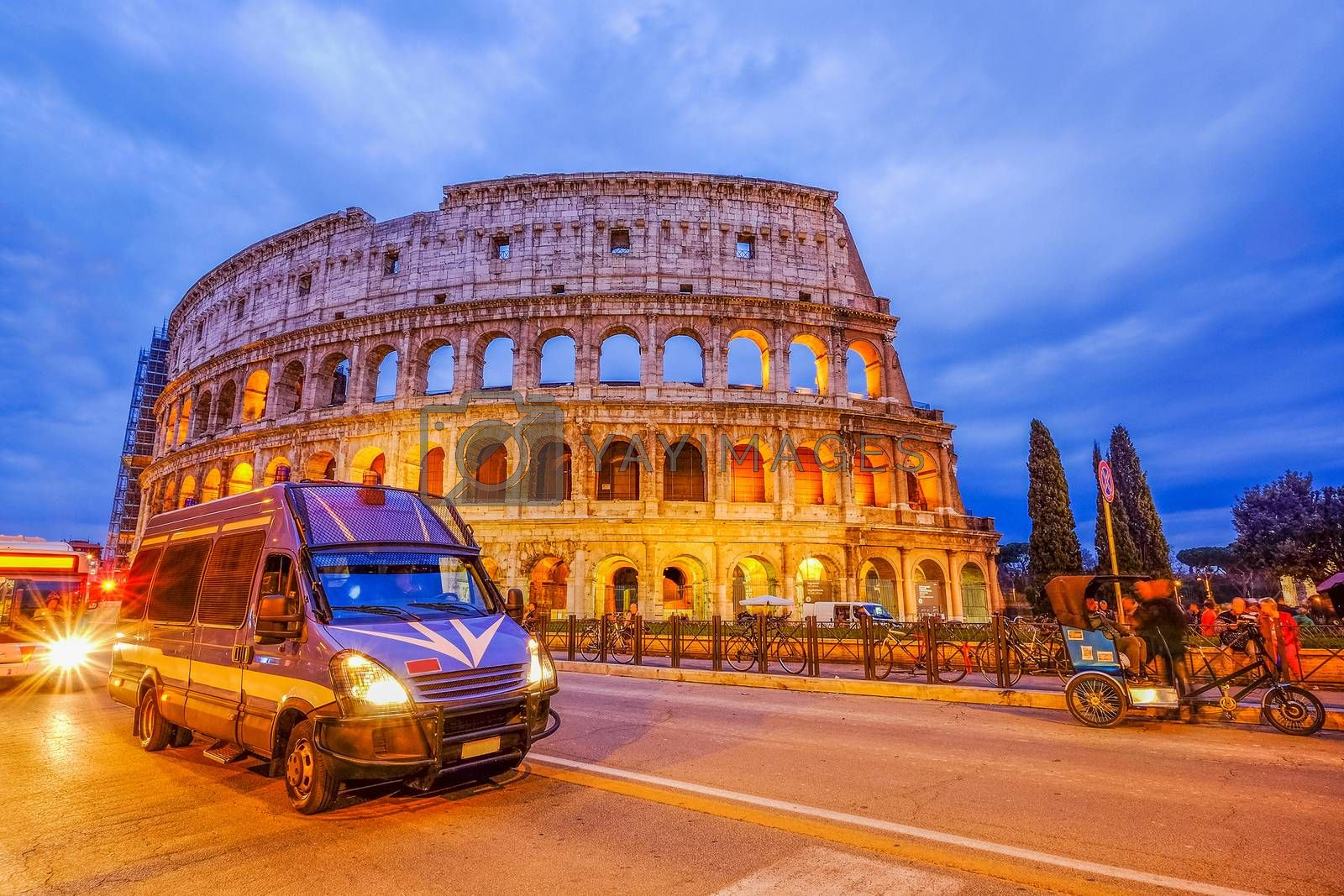 Traffic Jam in Colosseum, Rome, Italy. Twilight view of Colosseo in Rome