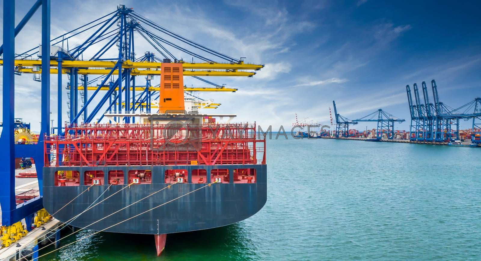Cargo operation by cranes are stopped effect by covid-19 pandemic around the world economic down crisis, Crane and container shipping export import business logistics in harbor industry, Logistic and supply chain crisis.