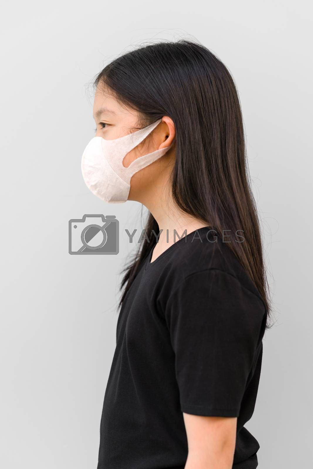 Asian Kid Wearing Mask to Prevent Corona Virus or COVID-19  by supparsorn