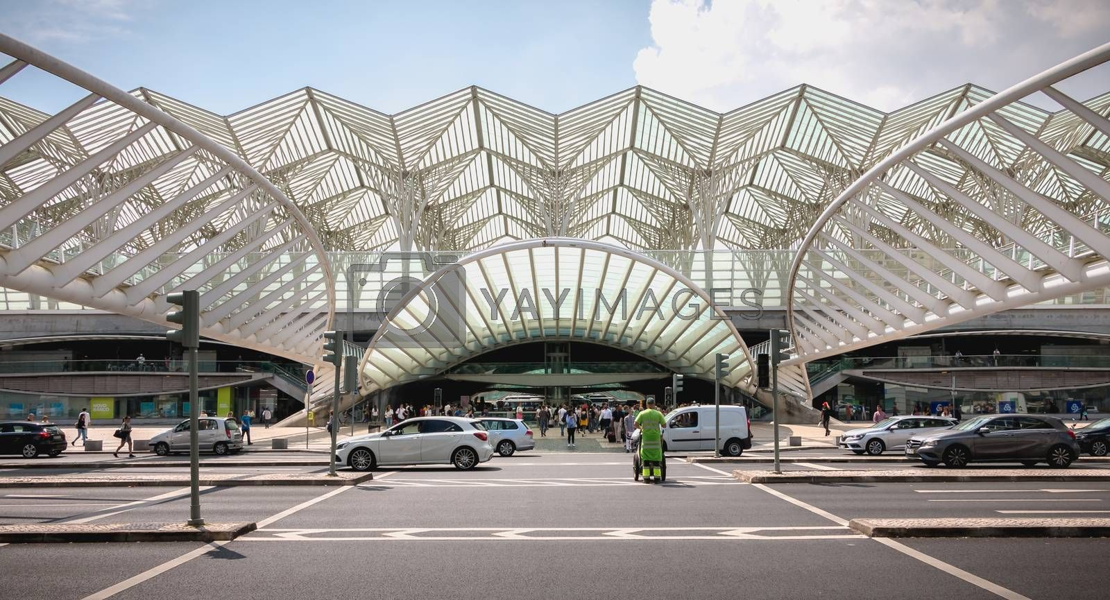 Lisbon, Portugal - May 7, 2018: Architecture detail and street atmosphere in front of the Lisbon Oriente train station on a spring day