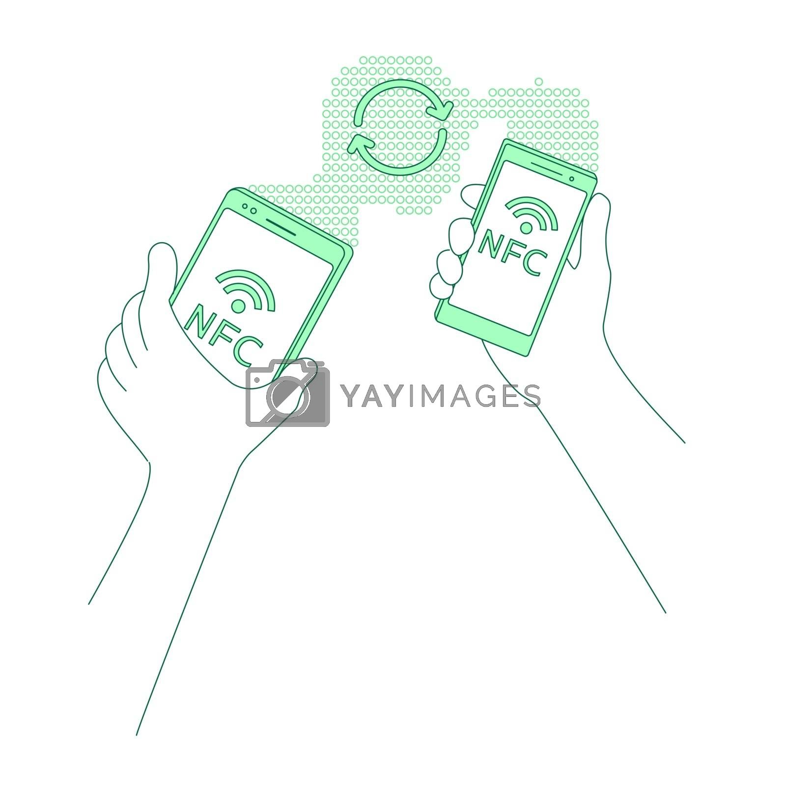 Content sharing, file sending thin line concept vector illustration. Wireless connection, people with smartphones 2D cartoon character for web design. Mobile data transfer creative idea