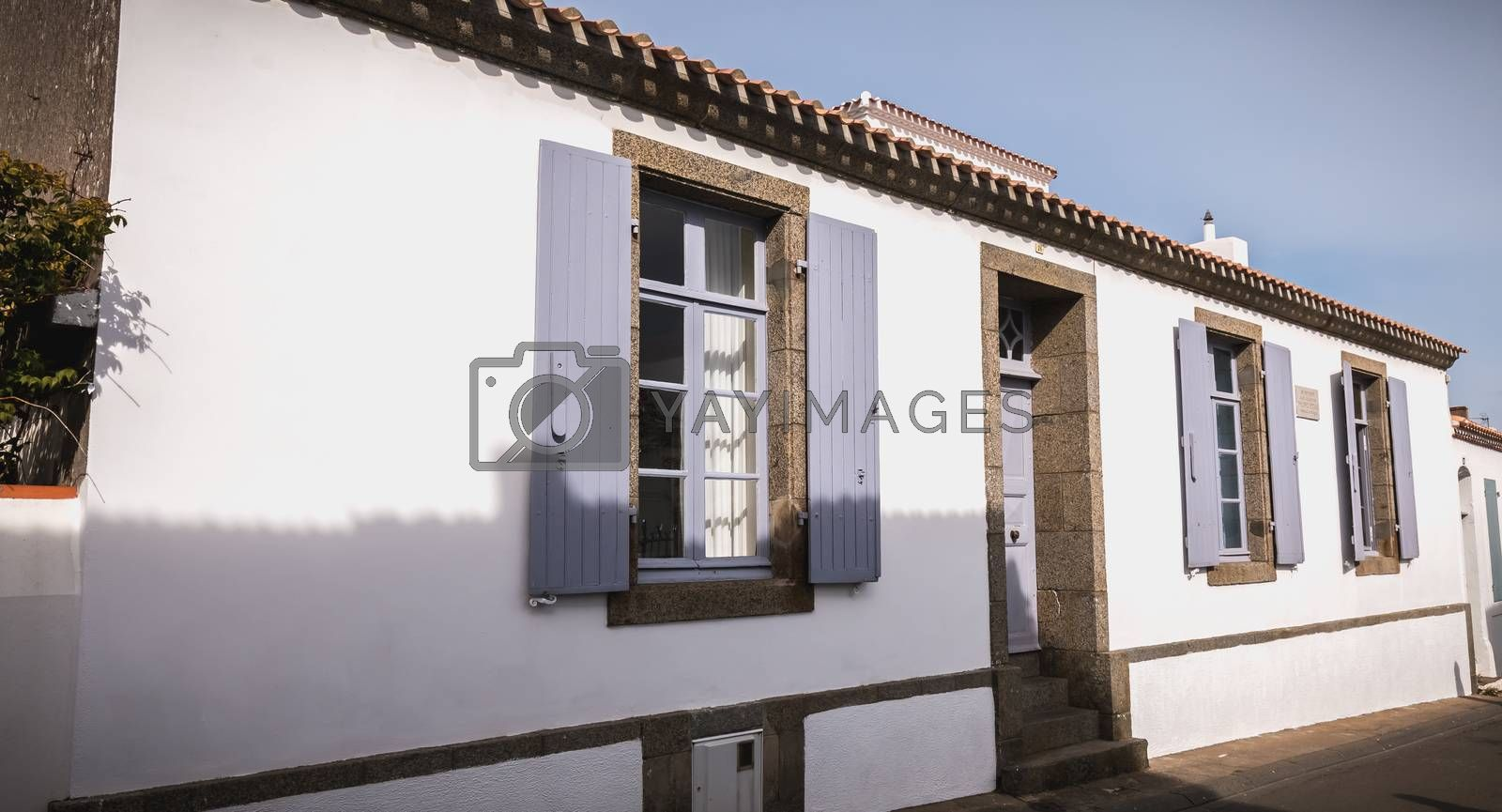 Port Joinville, France - September 16, 2018: architectural detail of the house where Marshal Petain died on July 23, 1951 in the historic city center of the island of Yeu