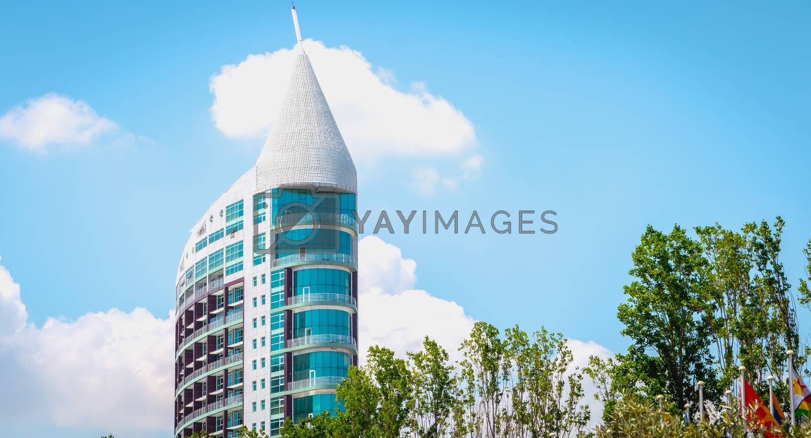 Lisbon, Portugal - May 7, 2018: Architectural detail of Sao Gabriel tower, at Parque das Nacoes (Park of Nations) in Lisbon on a spring day