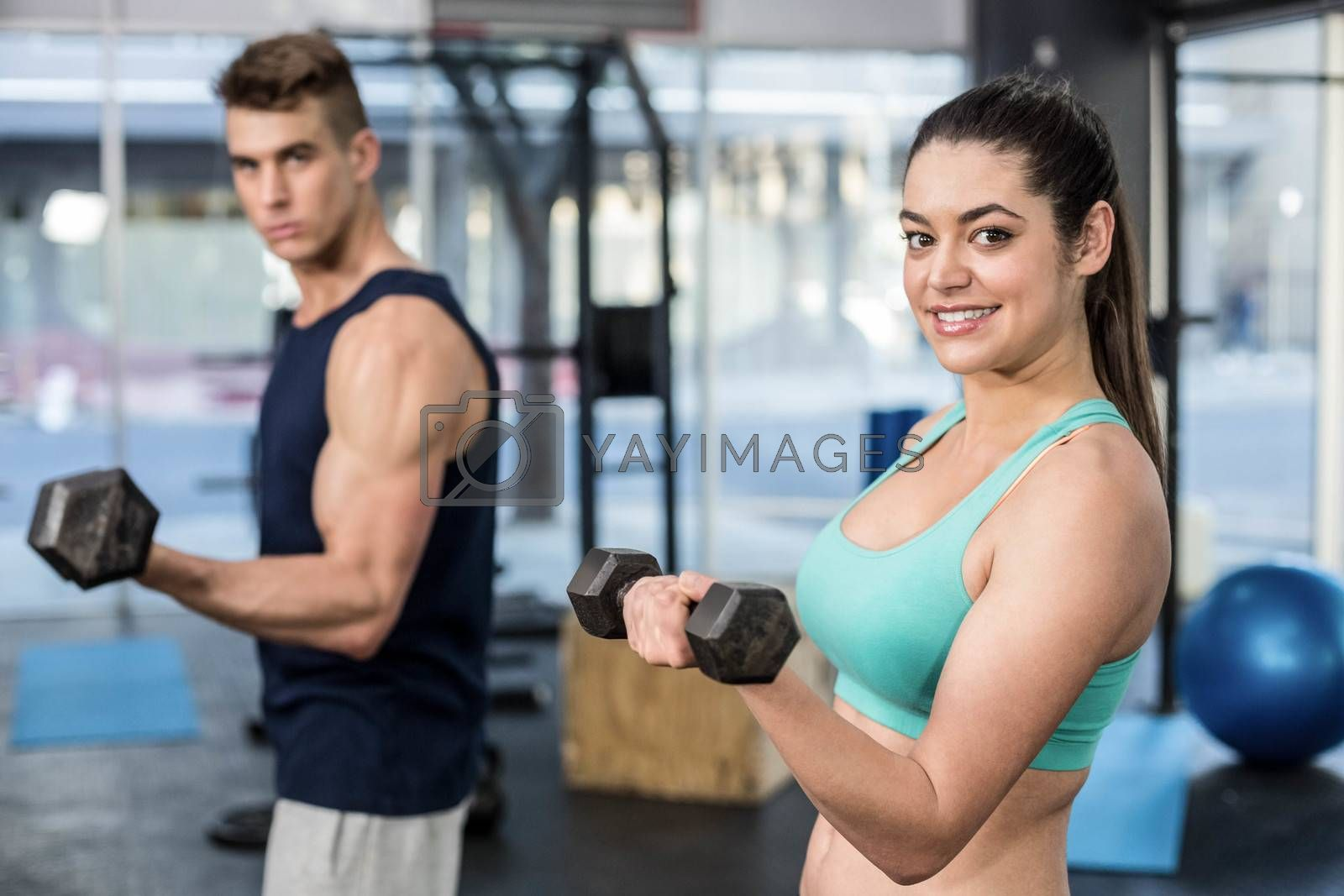 Fit people lifting dumbbells at gym