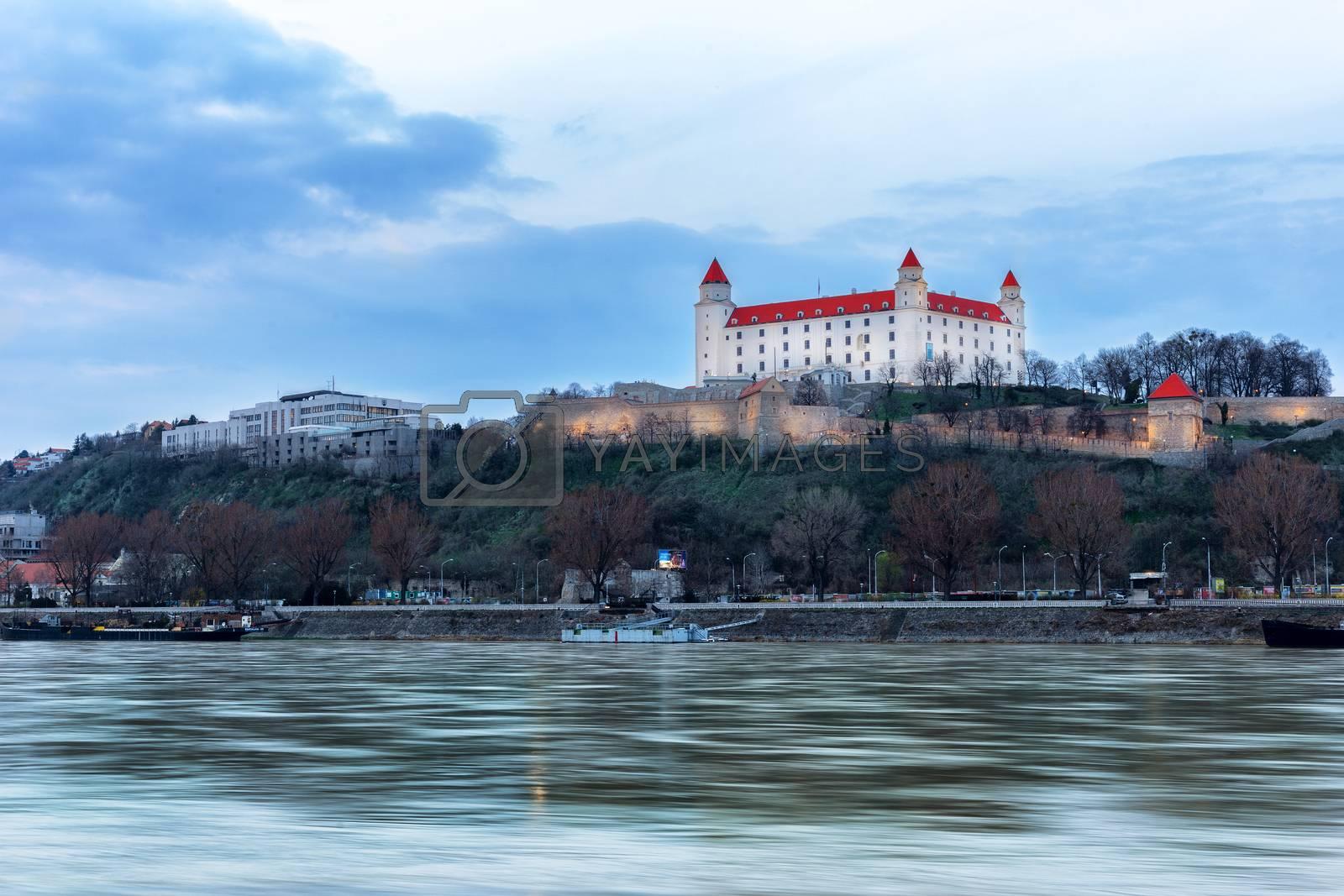 Bratislava castle at evening on spring season