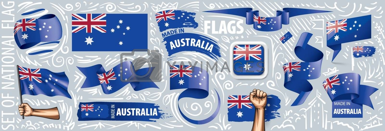 Vector set of the national flag of Australia in various creative designs.
