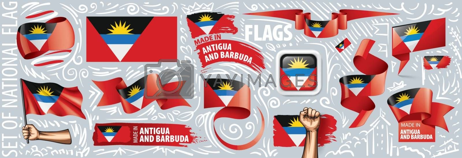 Vector set of the national flag of Antigua and Barbuda in various creative designs.