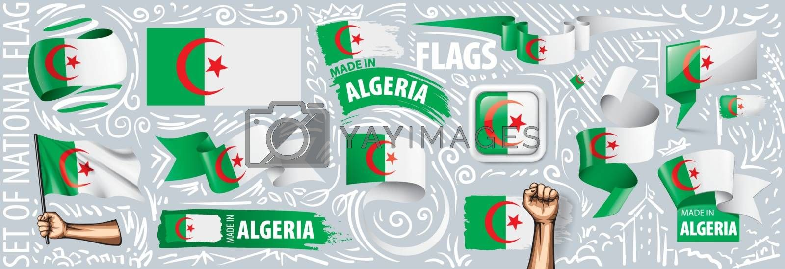 Vector set of the national flag of Algeria in various creative designs.