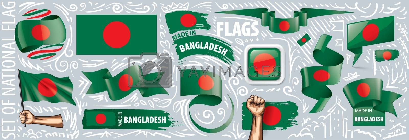Vector set of the national flag of Bangladesh in various creative designs.