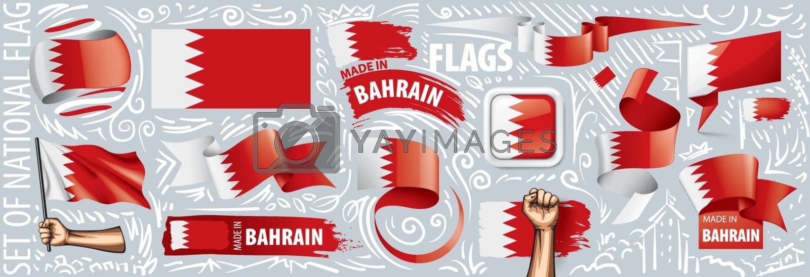 Vector set of the national flag of Bahrain in various creative designs.