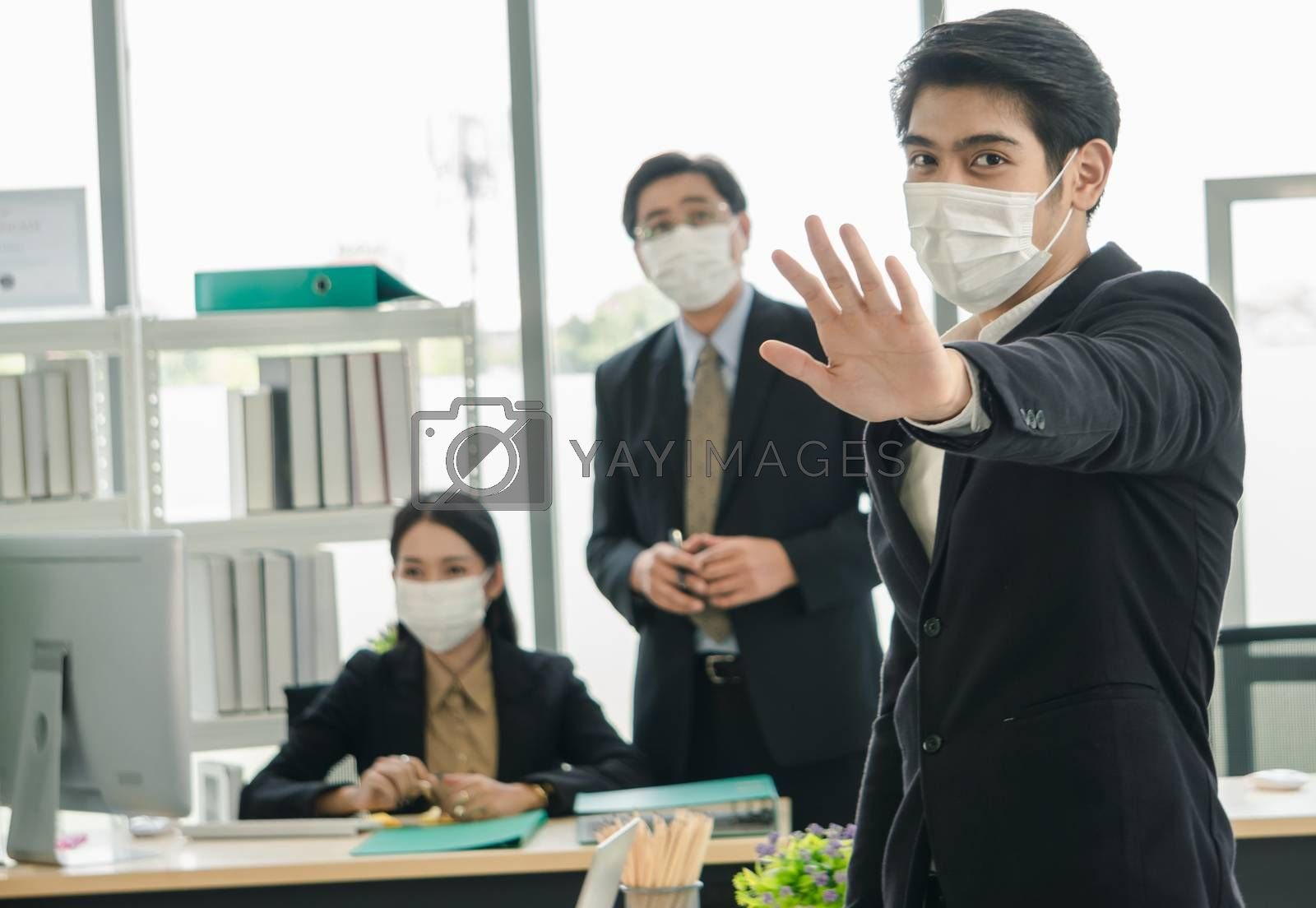 Business people wear protective masks by nuad338