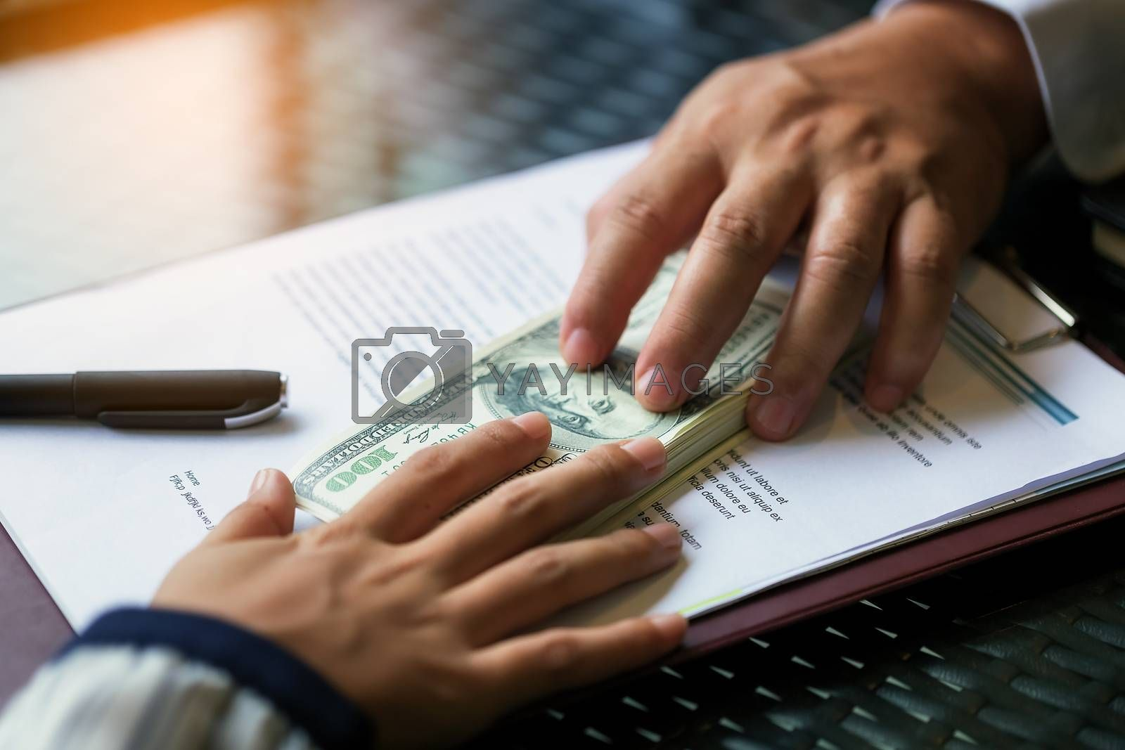 image of a businessman negotiating a financial deal. Loan agreement