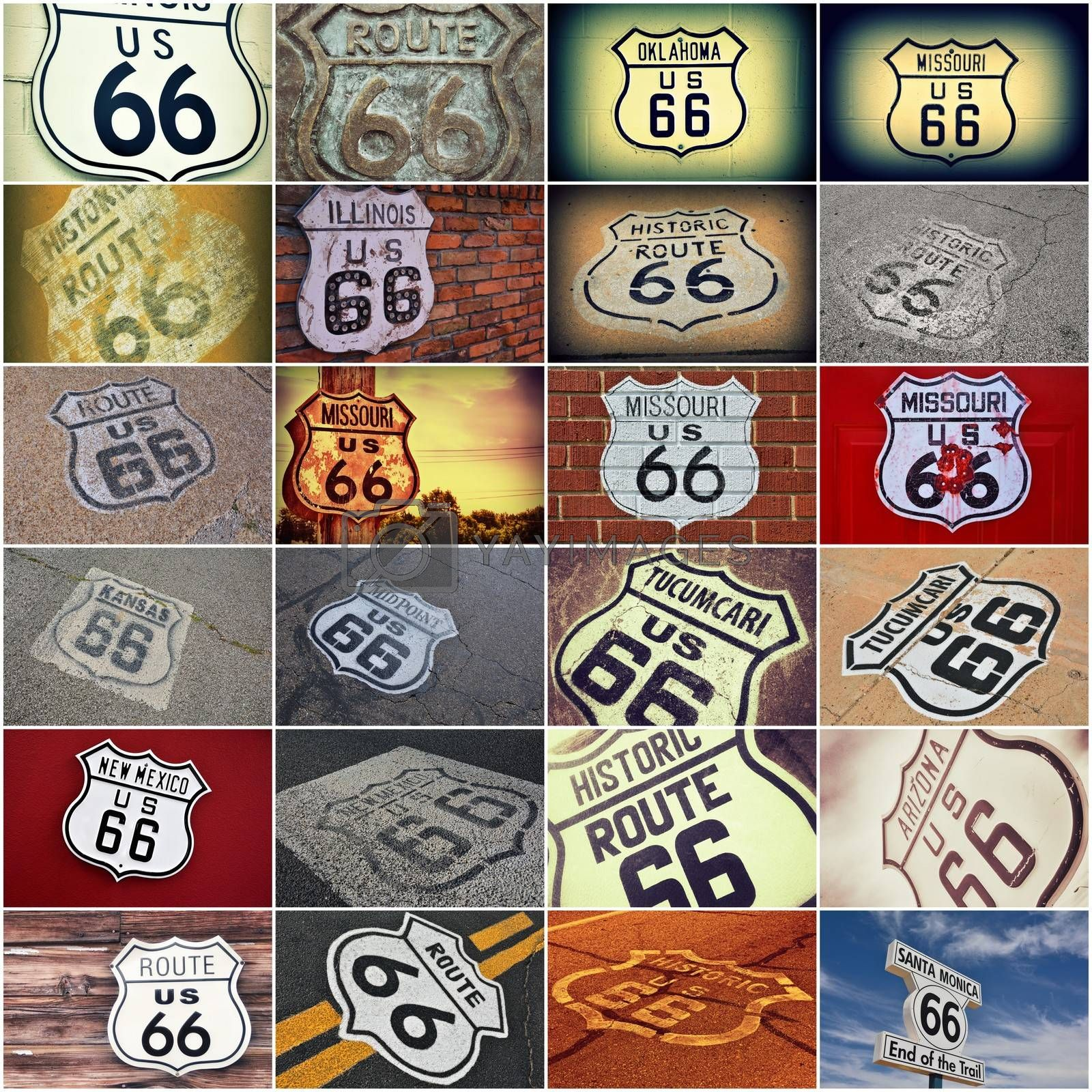 Historic U.S. old Route 66 signs.