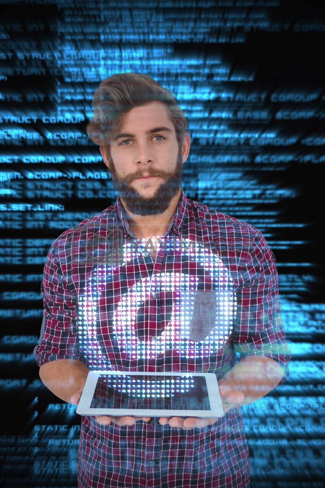 Portrait of hipster holding digital tablet against shiny blue coding on black background