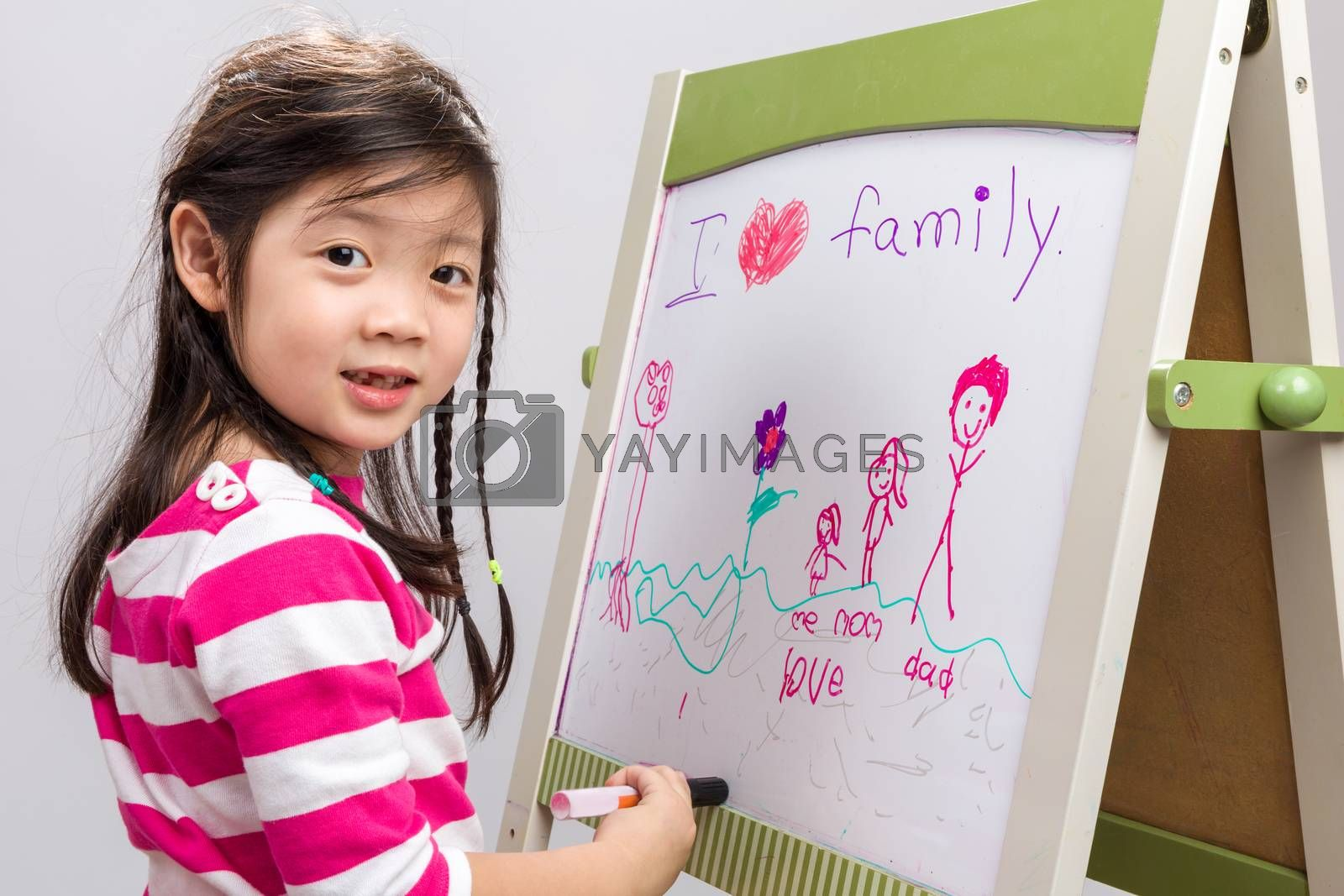 Kid drawing her family picture on whiteboard.