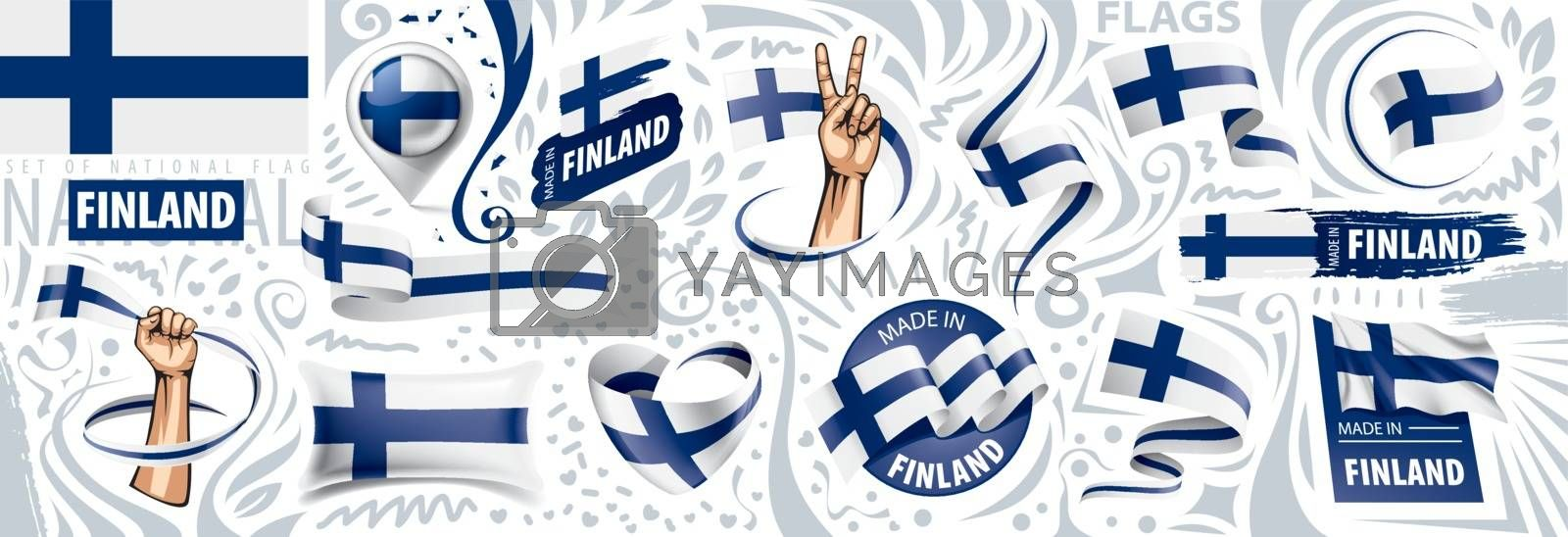 Vector set of the national flag of Finland in various creative designs.