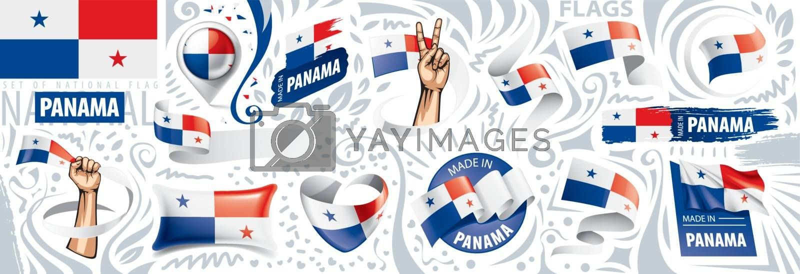 Vector set of the national flag of Panama in various creative designs.