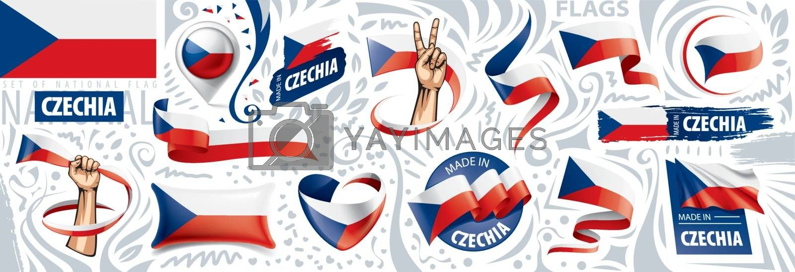 Vector set of the national flag of Czechia in various creative designs.