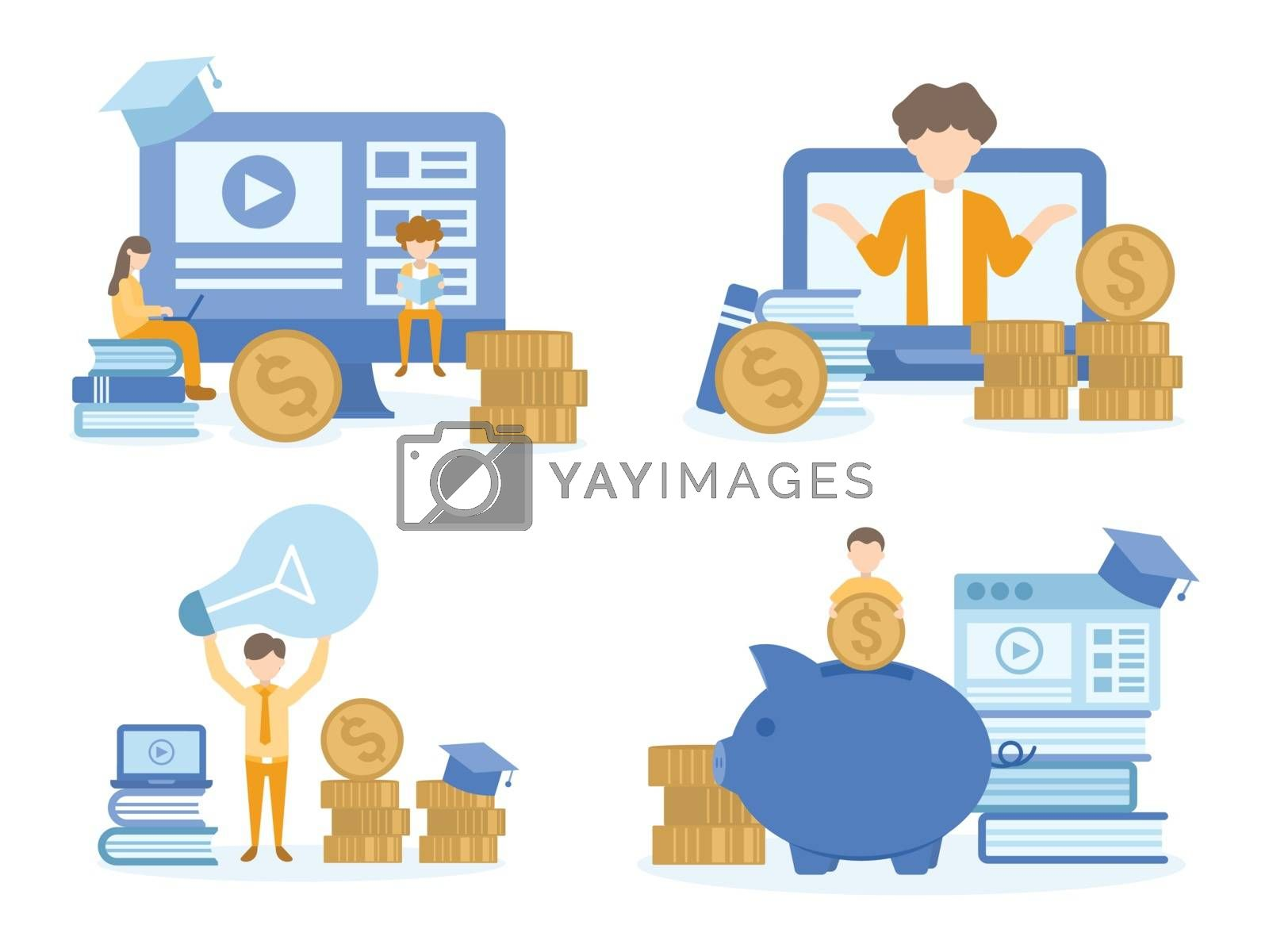 Student learning investment online courses. Concept Illustration of investment education for training, studying, e-learning, and online course.