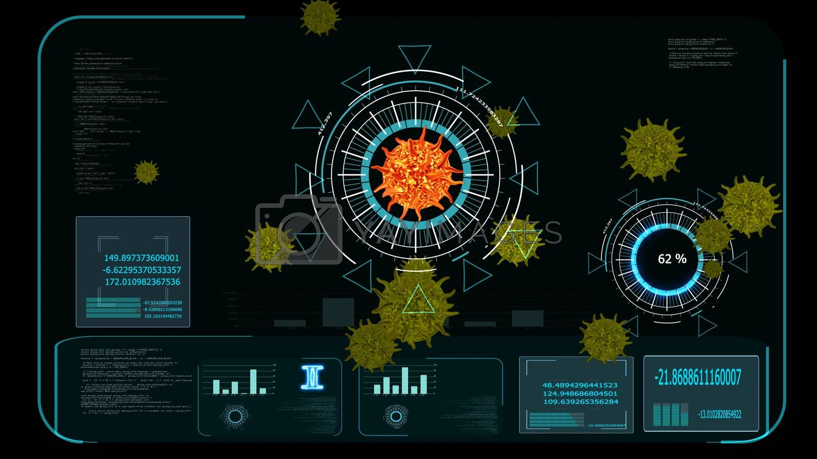 lava color virus covid 19 digital graph analysis to find vaccine and medicine and yellow another virus on monitor