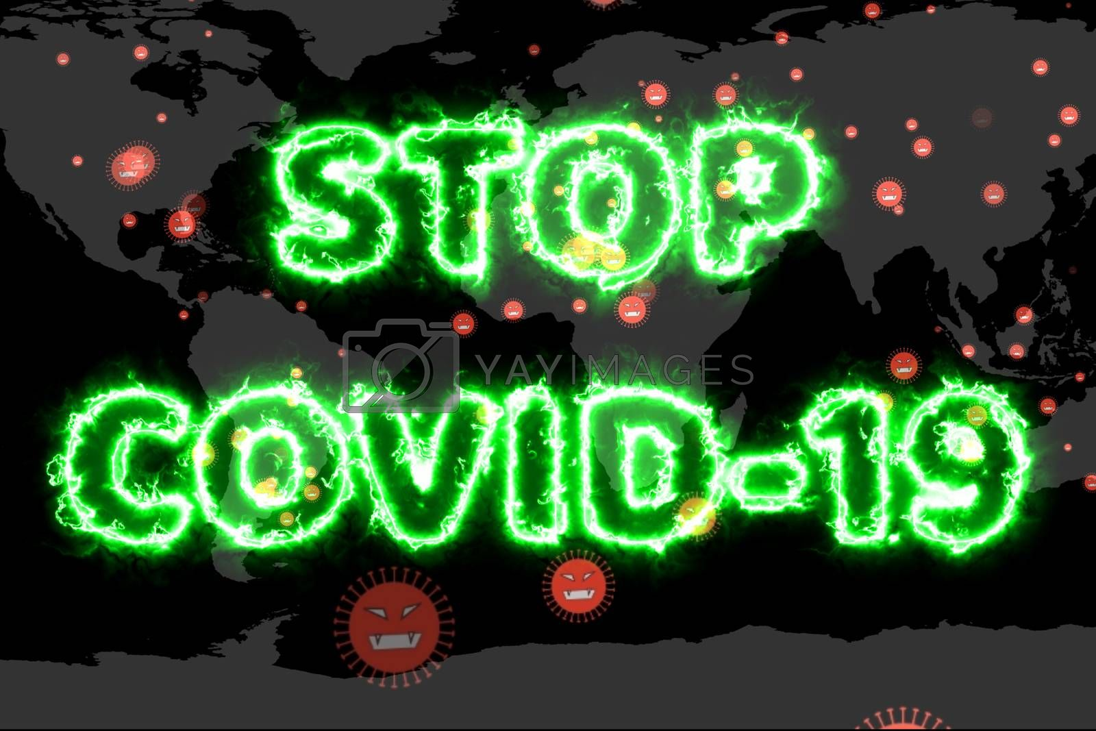 Covid 19 virus has spread all over the world and stop covid-19 green text