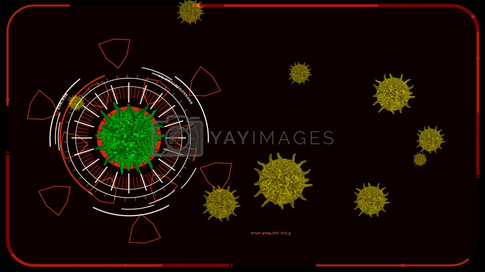 green color virus covid 19 digital was analysis to find vaccine and medicine and yellow another virus on monitor red screen